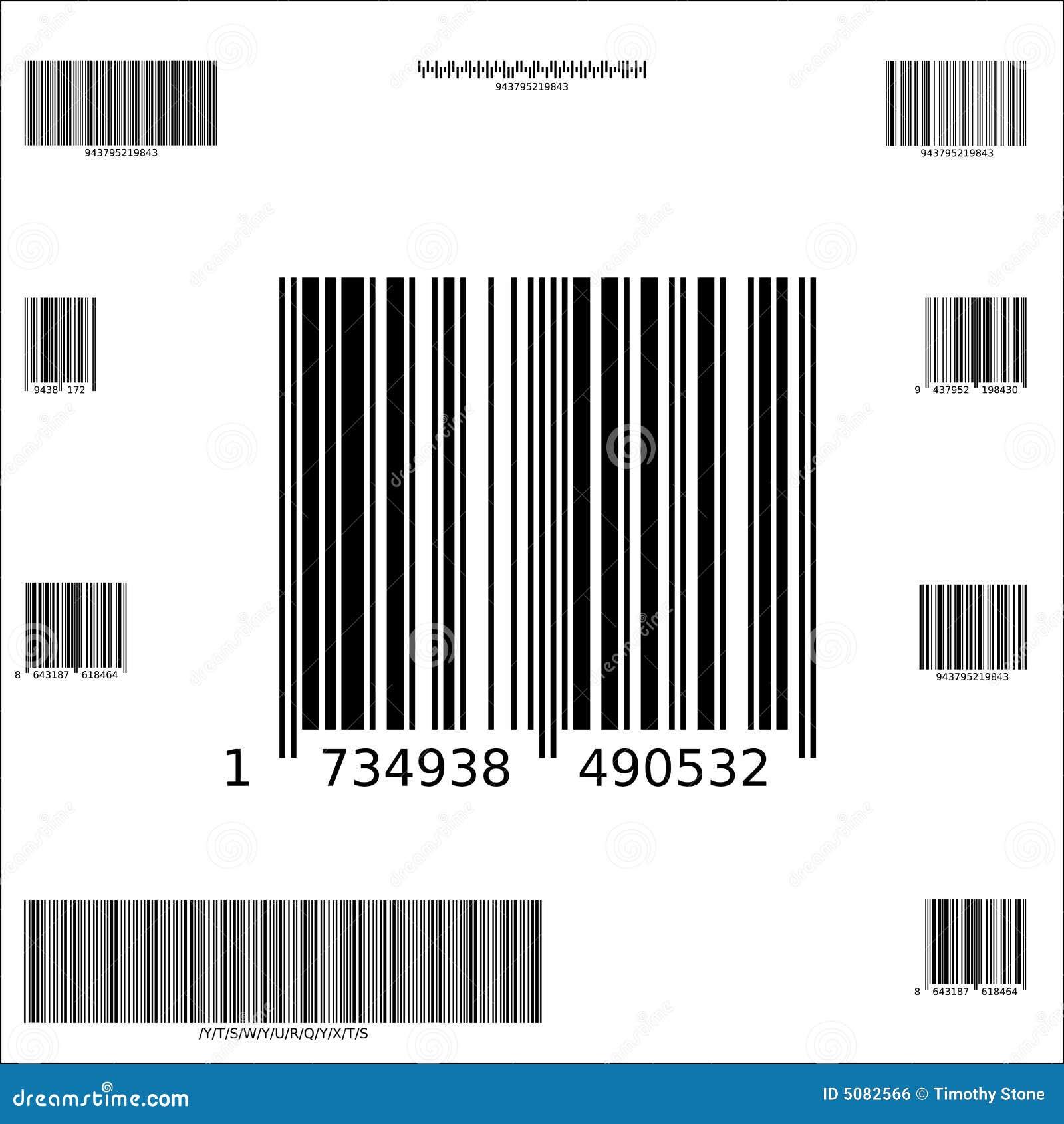 Dez códigos de barras do vetor da amostra