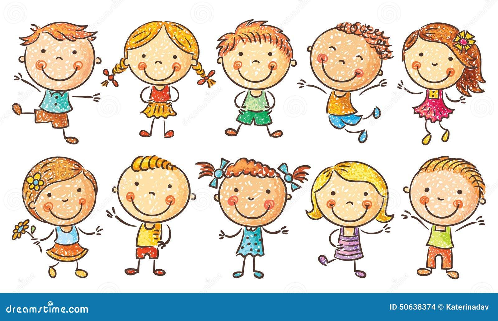 Dez Criancas Felizes Dos Desenhos Animados Ilustracao Do Vetor