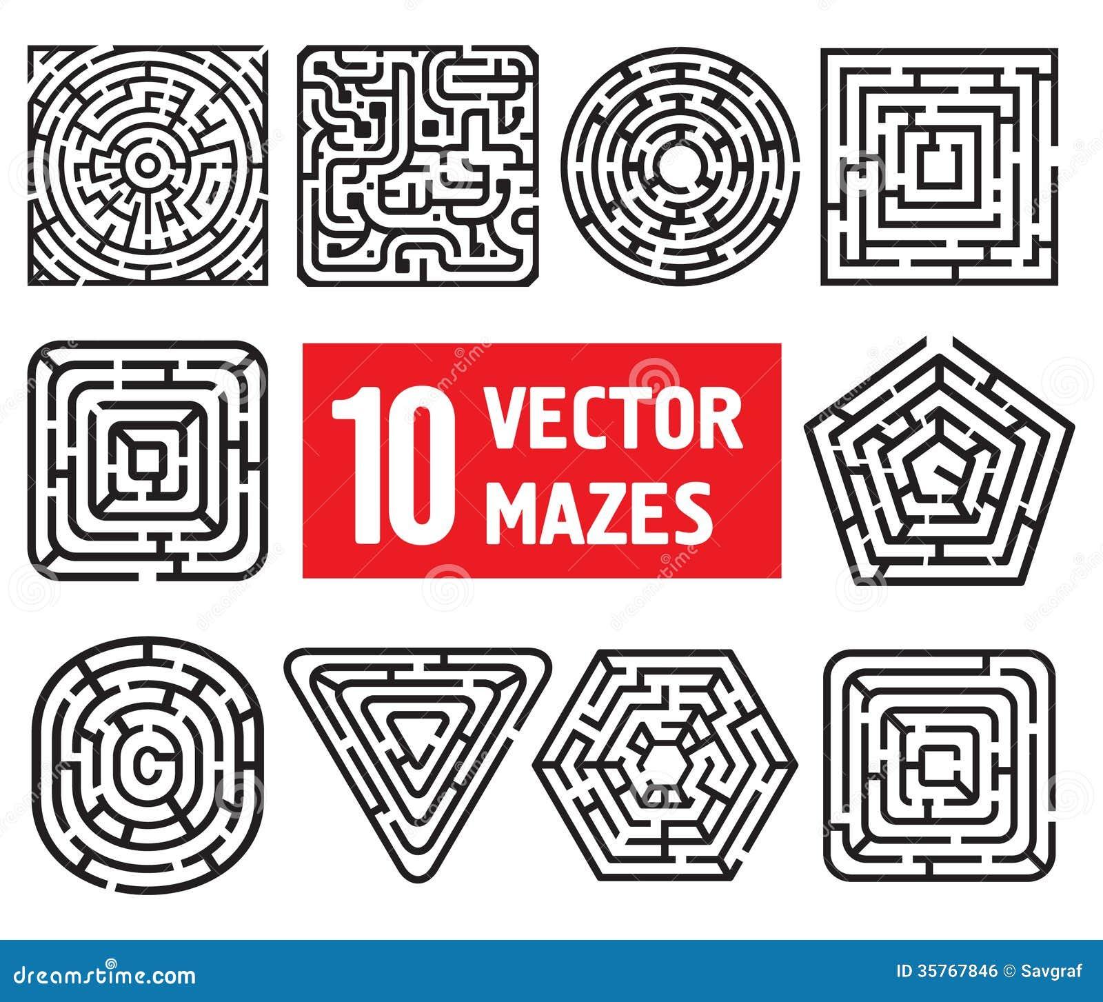 Dez labirintos do vetor