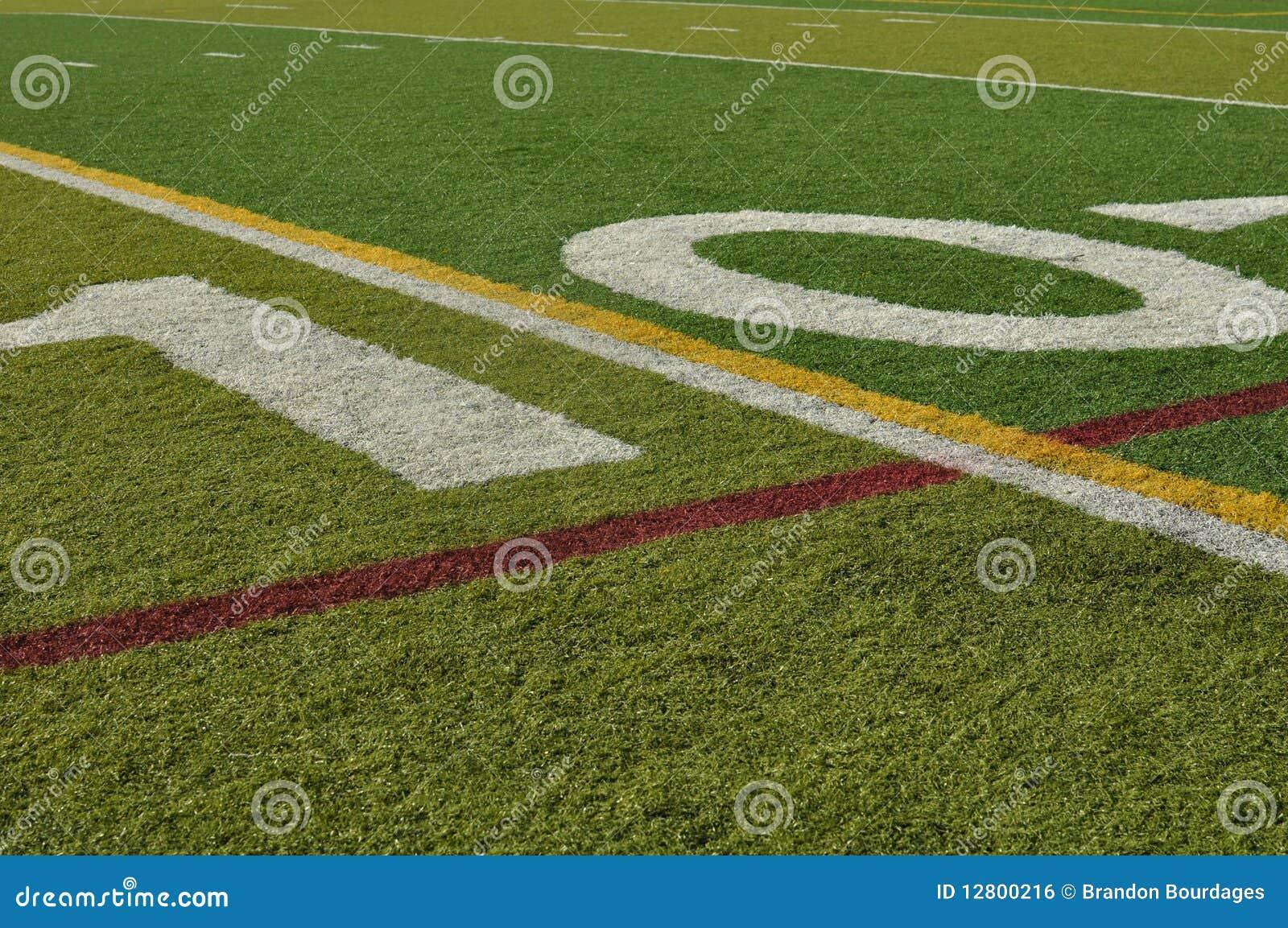 Dez linha de jardas campo de futebol