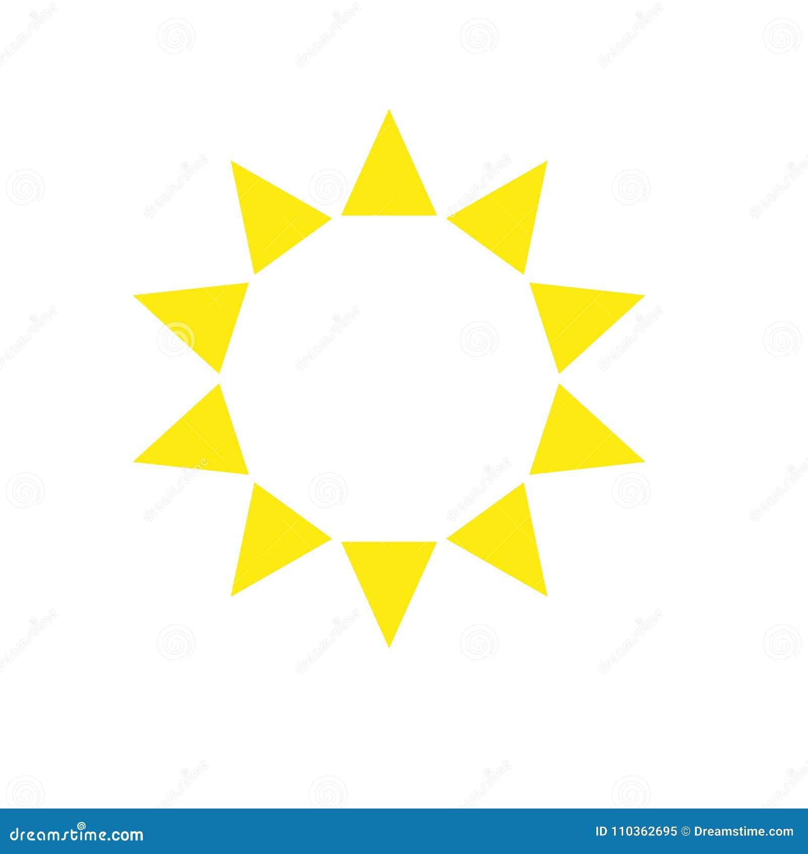 Dez Triângulos Aguçado Do Molde Do Sol Do Amarelo Do Logotipo Da