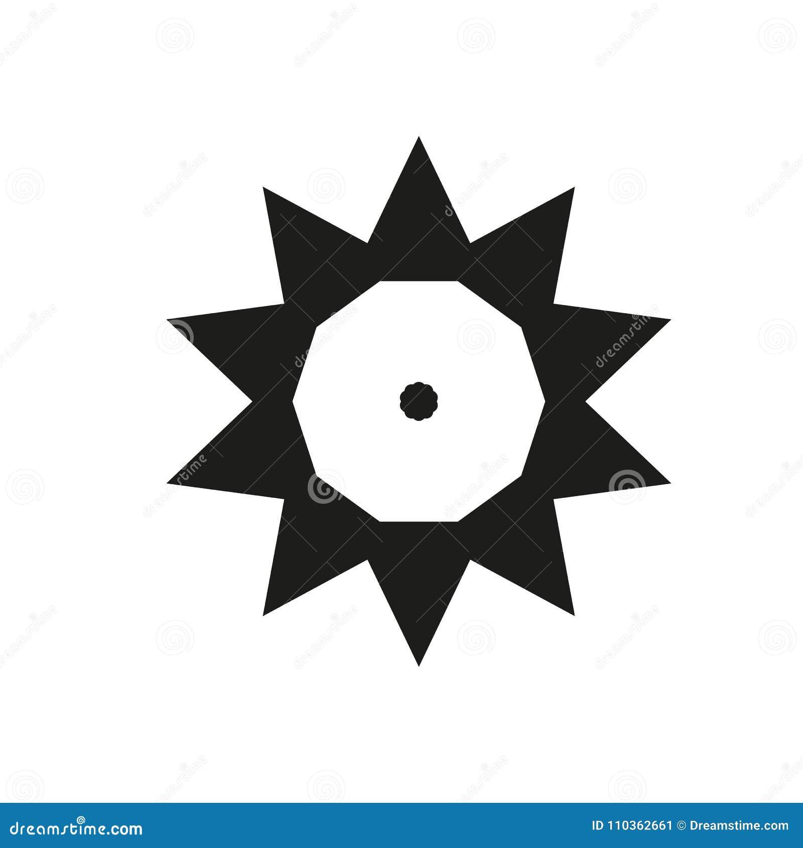 Dez Triângulos Aguçado Do Ponto Do Molde Do Sol Do Preto Do Logotipo