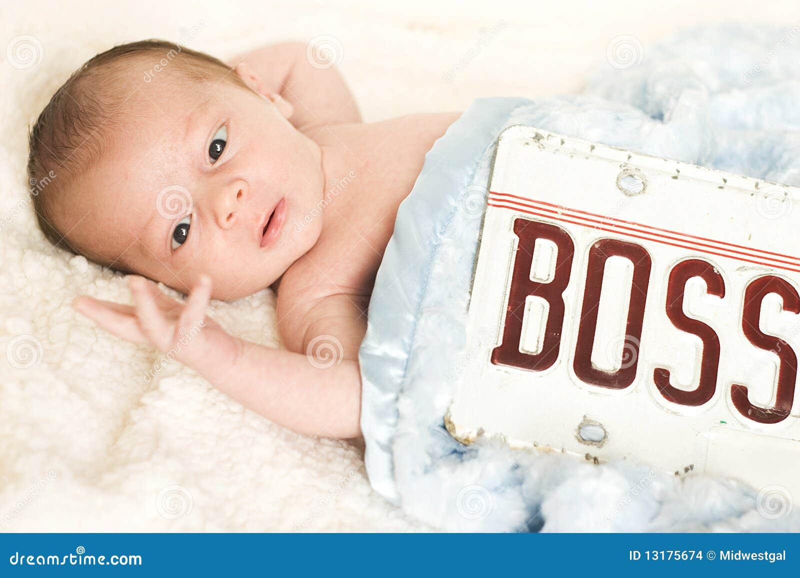 Deze Baby is Chef-! Leuk Kind dat Vingers bekijkt