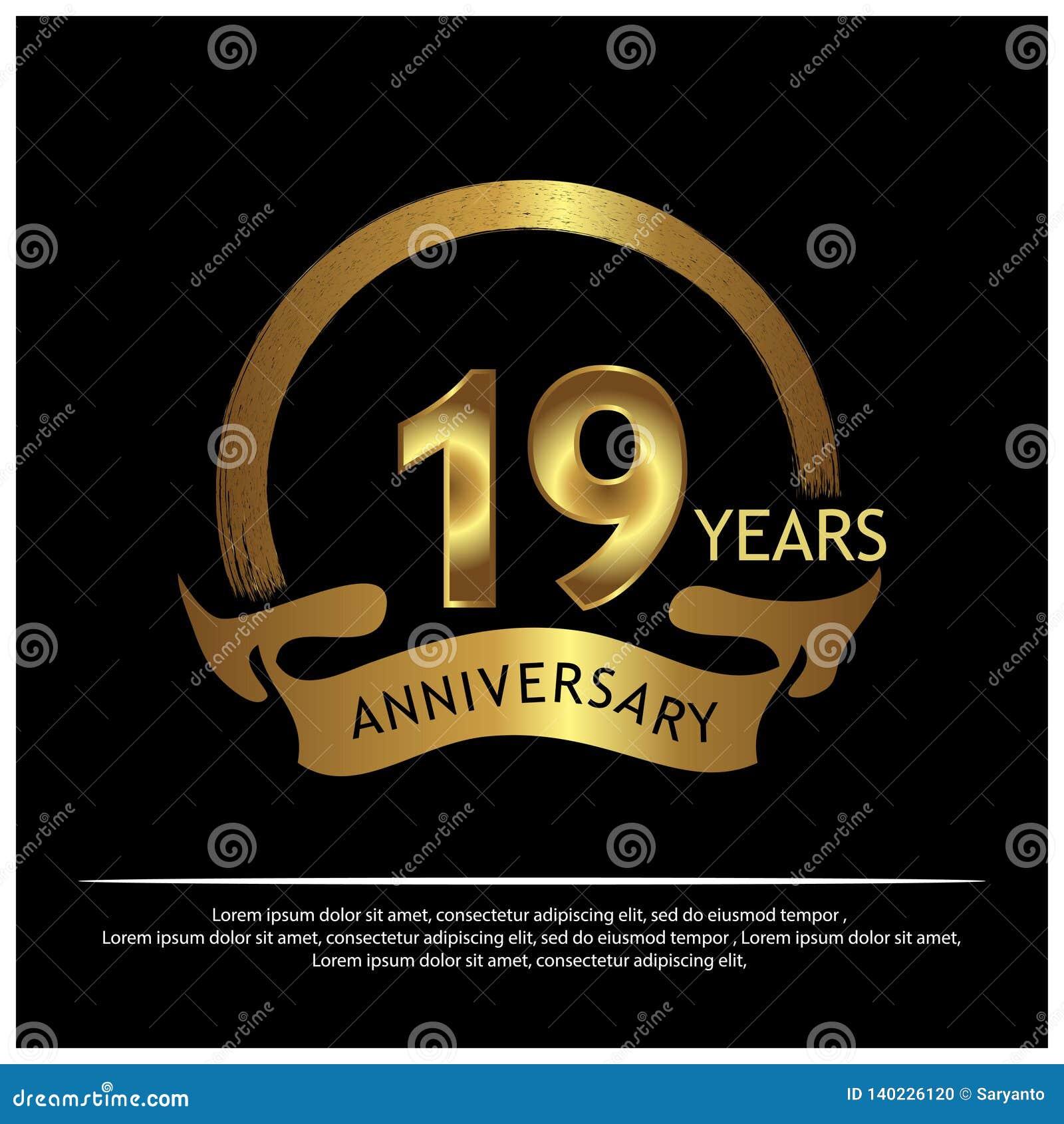 Dezenove anos de aniversário dourado projeto do molde do aniversário para a Web, jogo, cartaz criativo, brochura, folheto, inseto