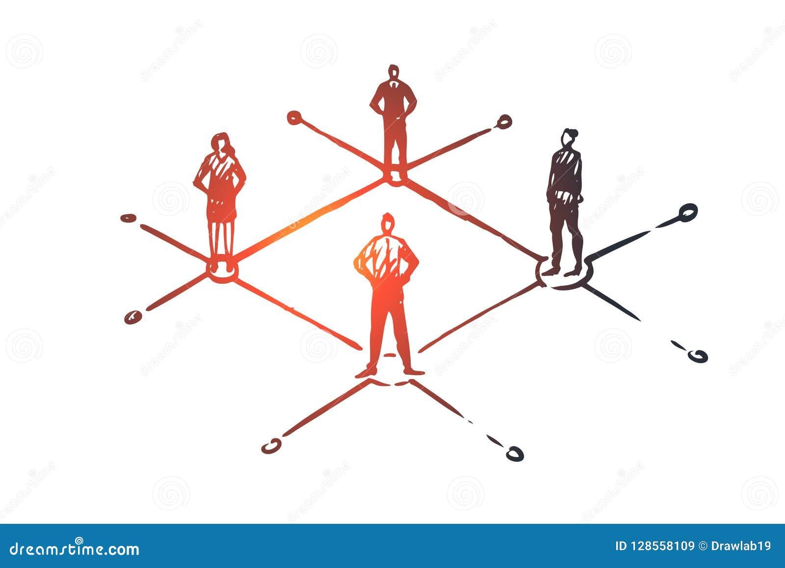 Dezentralisiert, Leute, angeschlossen, Element, Strukturkonzept Hand gezeichneter lokalisierter Vektor