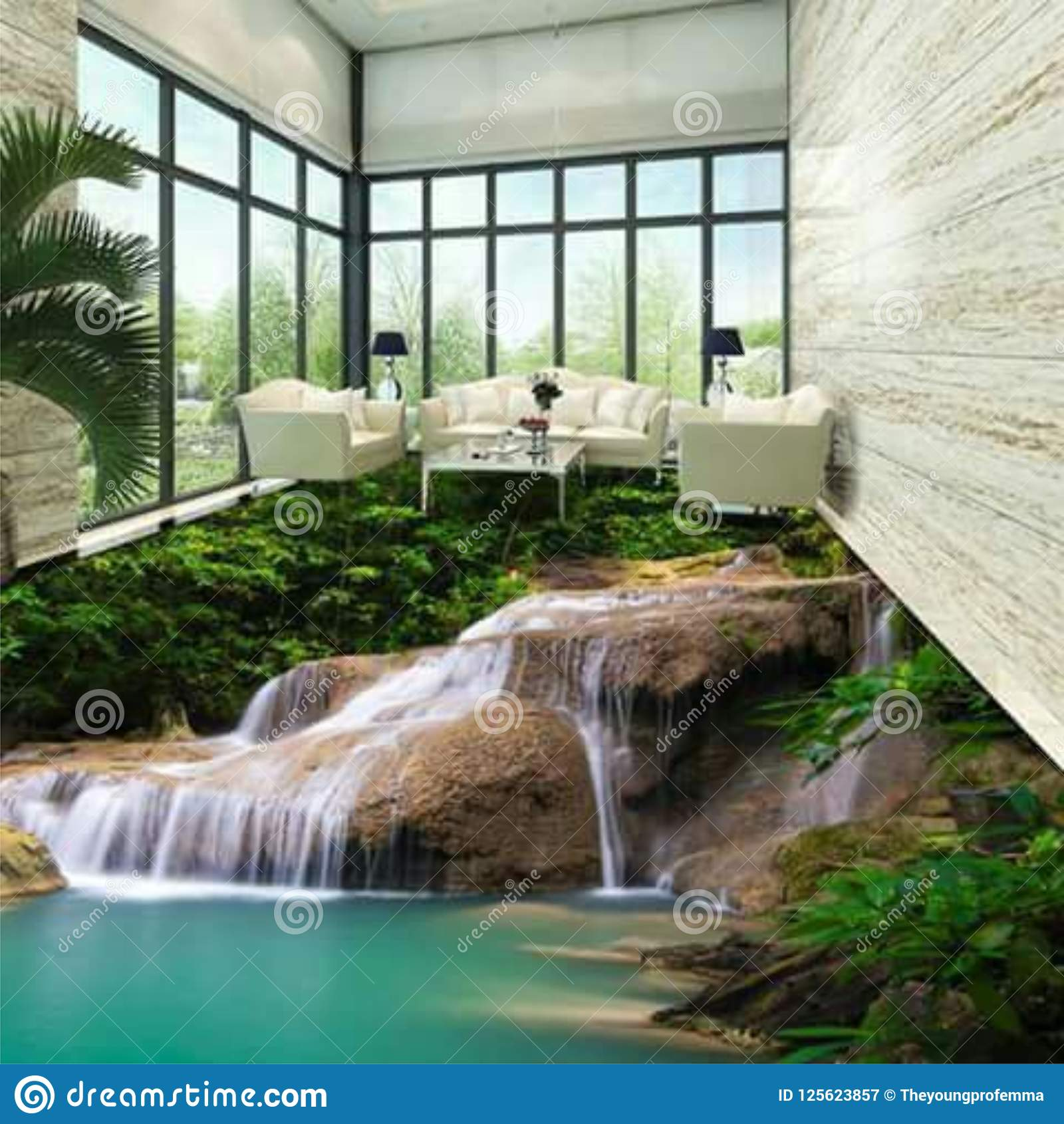 3dfloor Tiling Is Used In Door Decoration Stock Image Image Of