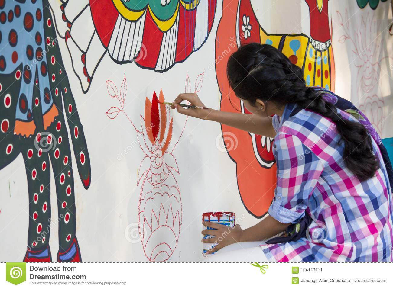 Art Institute Student Painting A Colorful Wal Editorial Photo Image Of Dhaka Bangladesh 104119111