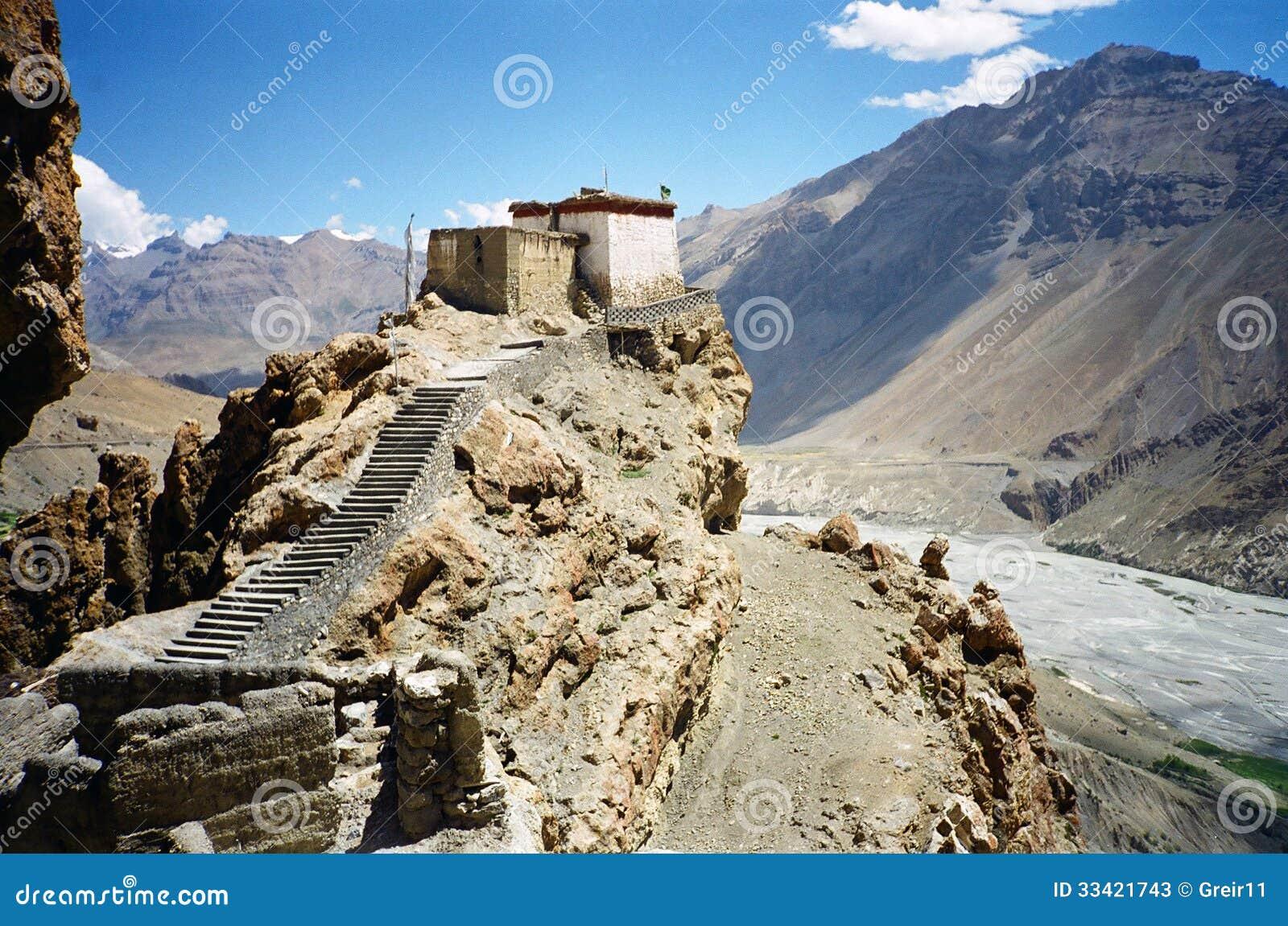 Dhankhar Tibetan Temple With Himalaya Landscape Stock Photos - Image ...