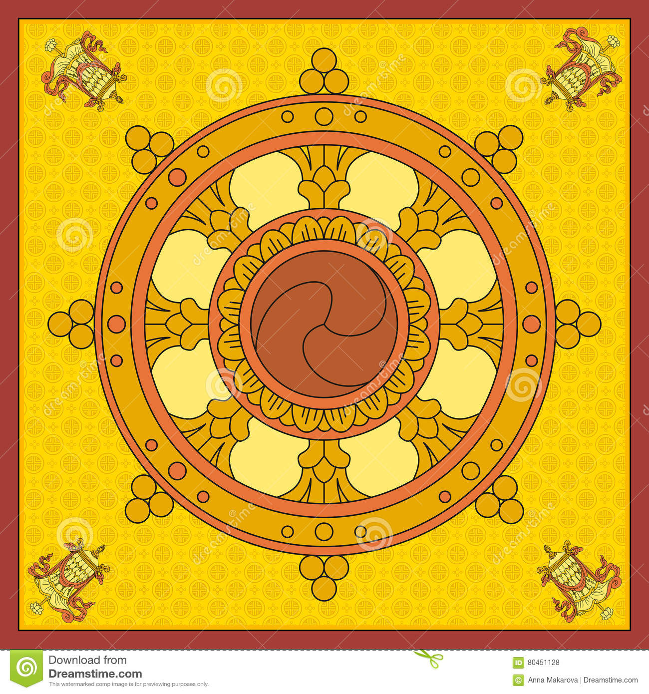 Dharma Wheel Dharmachakra Icons Of In Black And White Design