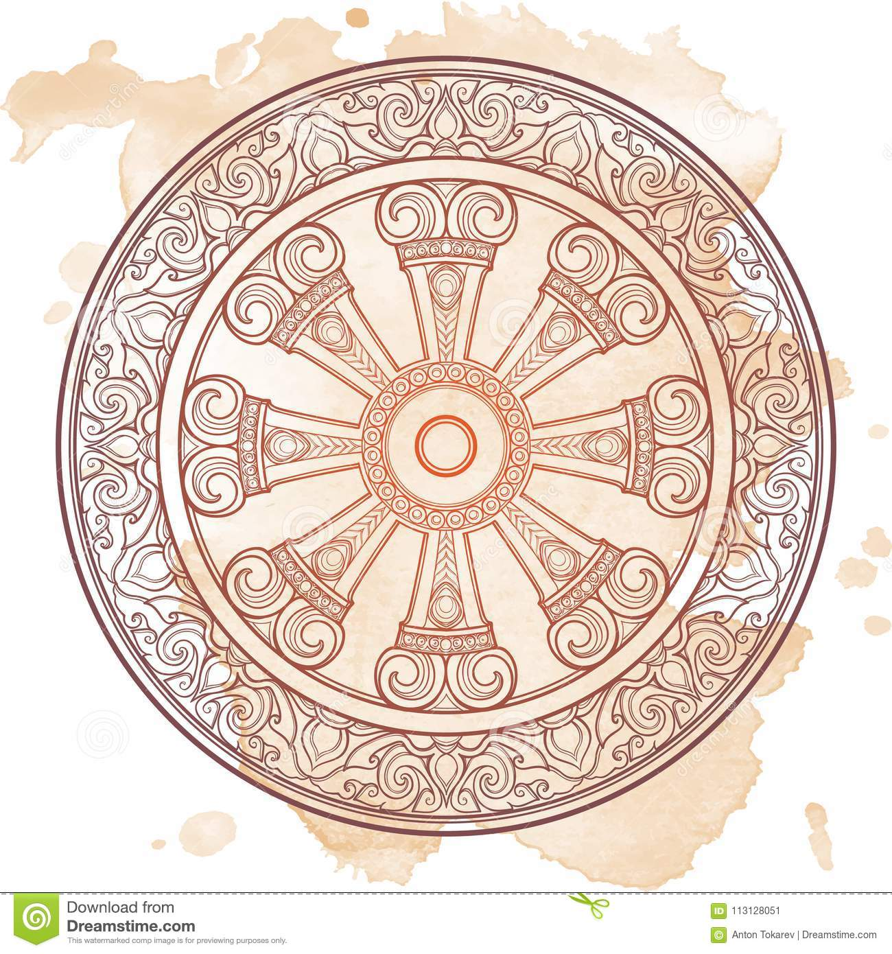 Dharma wheel dharmachakra symbol of buddhas teachings on the path symbol of buddhas teachings on the path to enlightenment liberation from the karmic buycottarizona Image collections