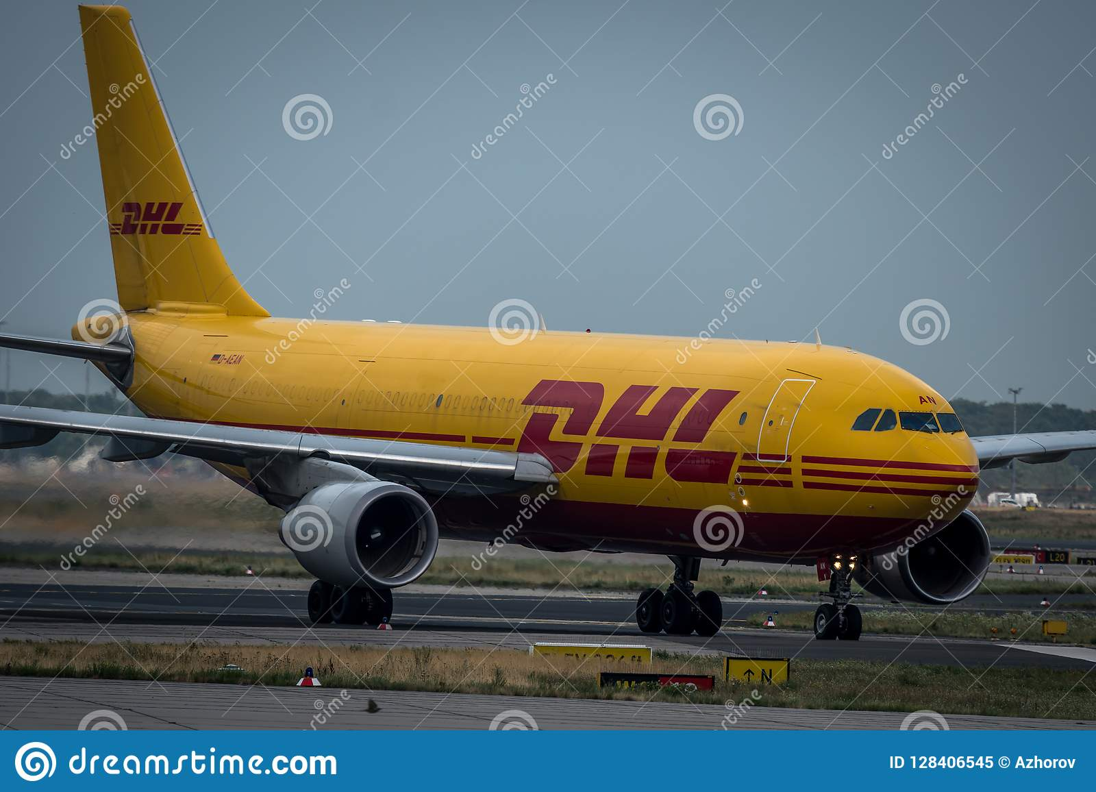 DHL Airbus A310 on taxiway editorial image  Image of cockpit - 128406545