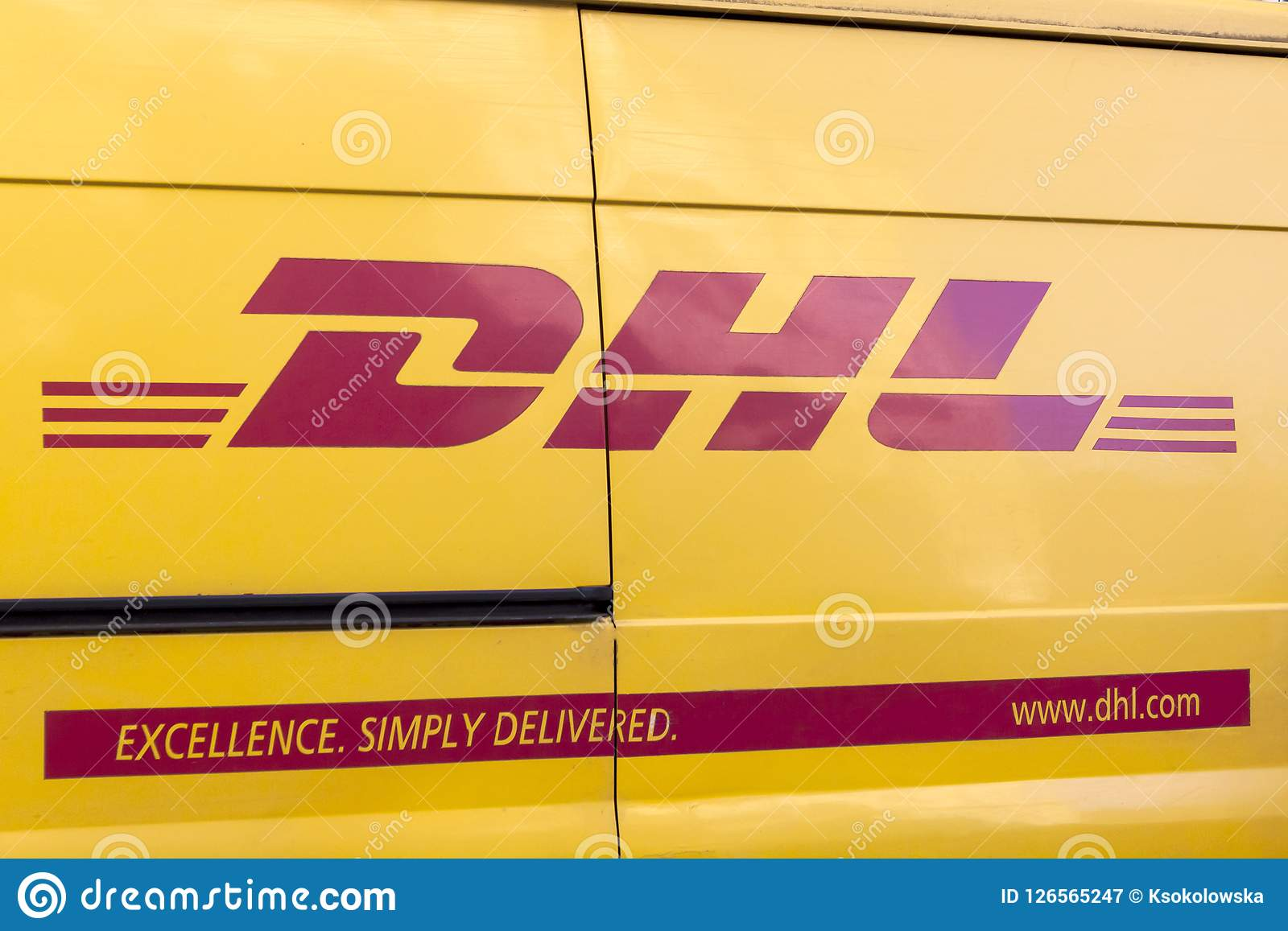DHL delivery van  editorial photography  Image of banner