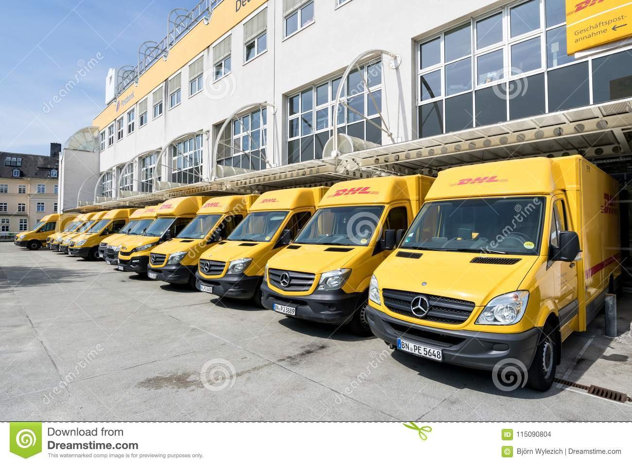 Dhl Delivery Vans At Depot In Siegen Germany Editorial Stock Image