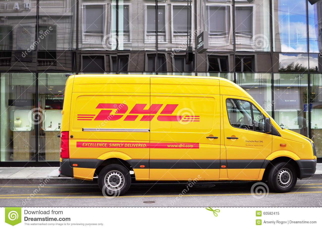 dhl van in the street editorial image image of mail 60582415. Black Bedroom Furniture Sets. Home Design Ideas
