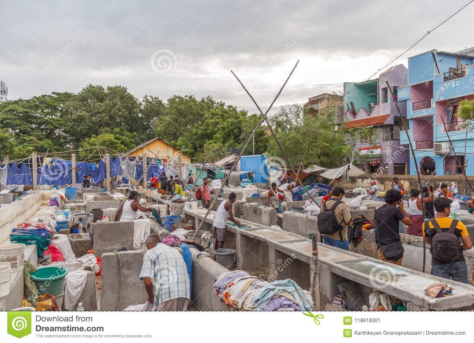 Dhobi加娜是一家知名的露天洗衣店在金奈印度