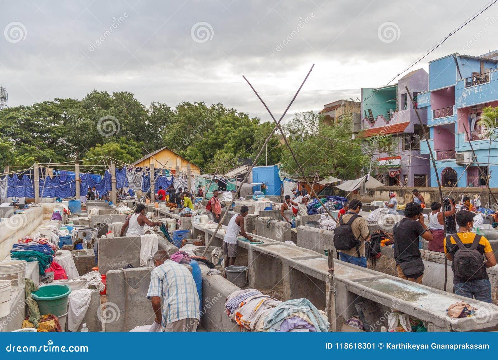 Dhobi Gana är en välkänd tvättinrättning för öppen luft i Chennai Indien