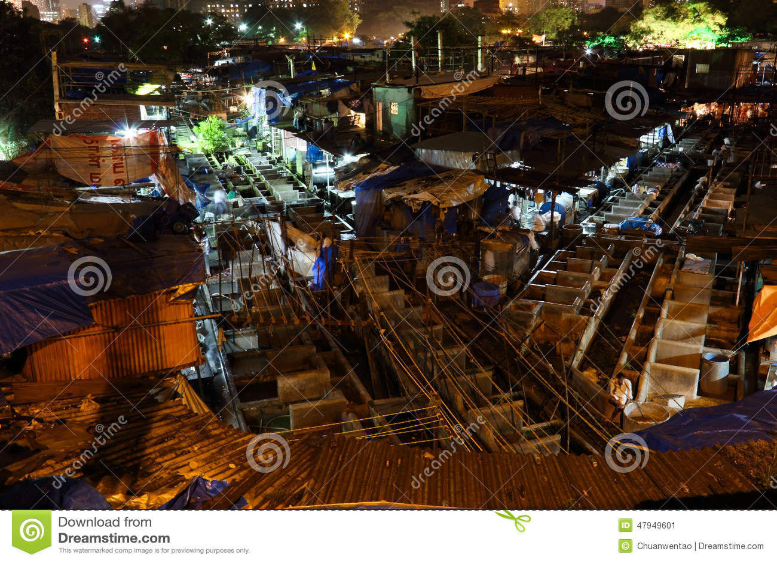 Dhobi Ghat i Bombay på natten