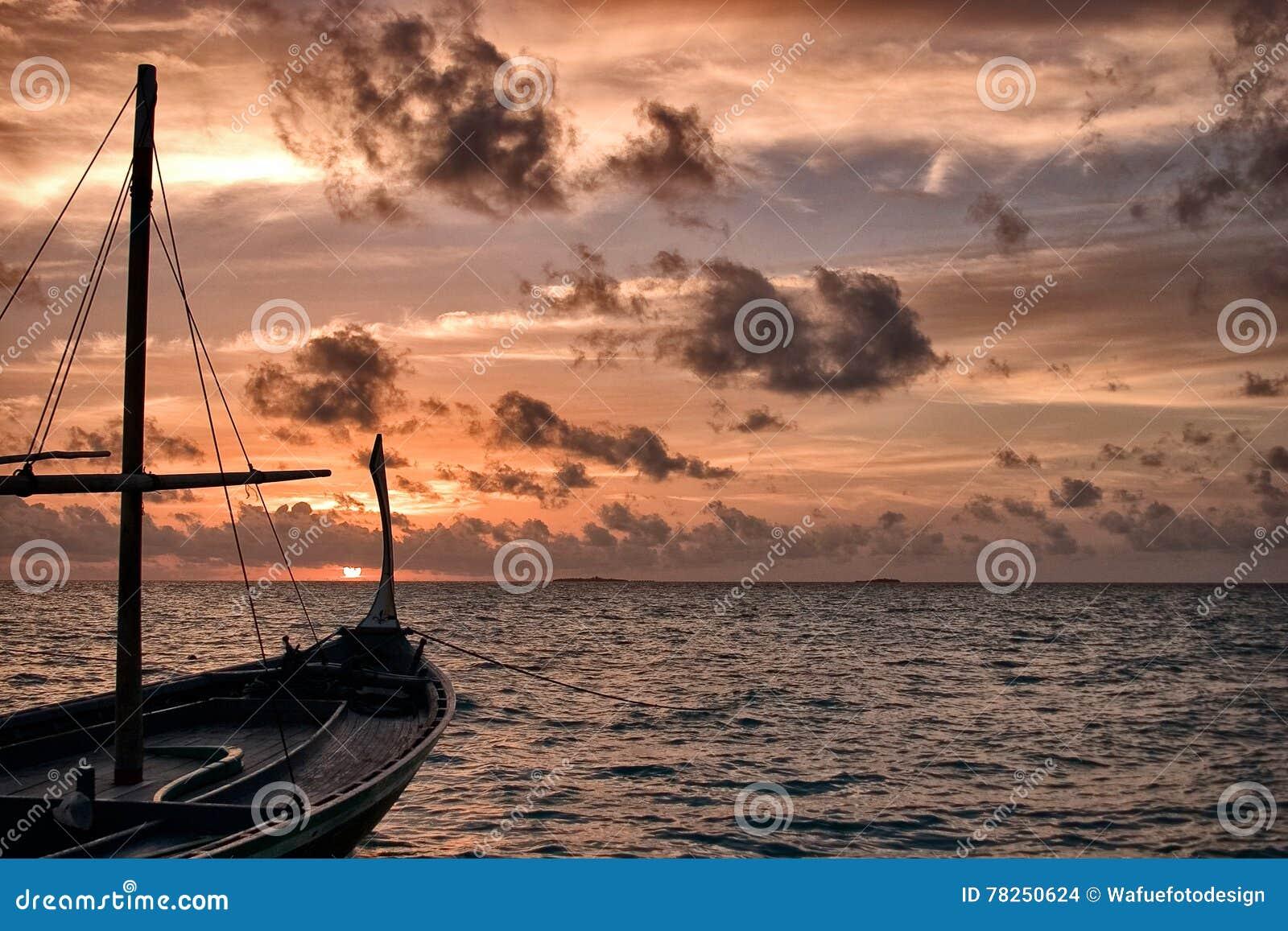 Dhoni в заходе солнца