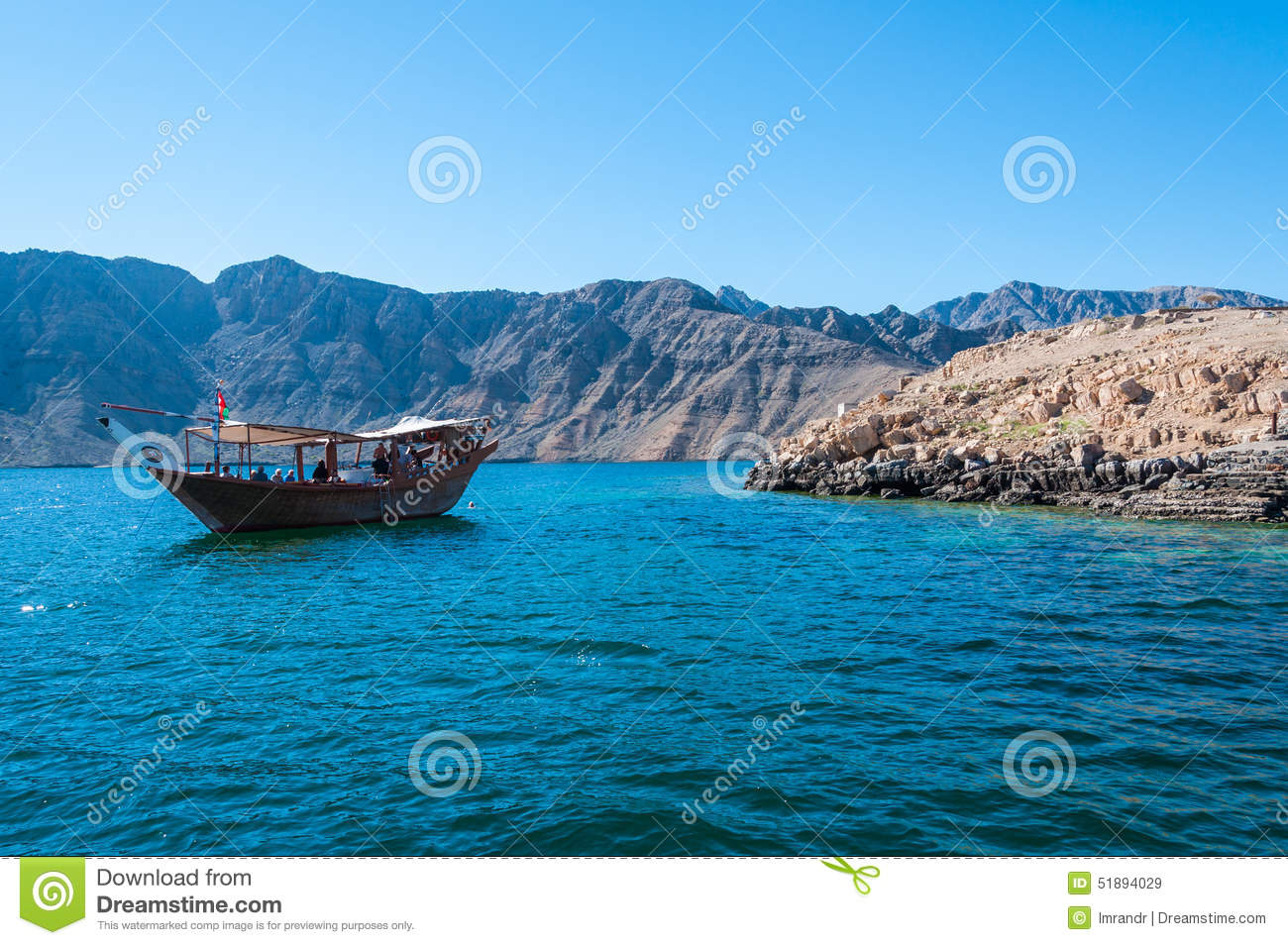 Download Dhow Boat In Musandam, Oman Stock Image - Image of flag, gulf: 51894029