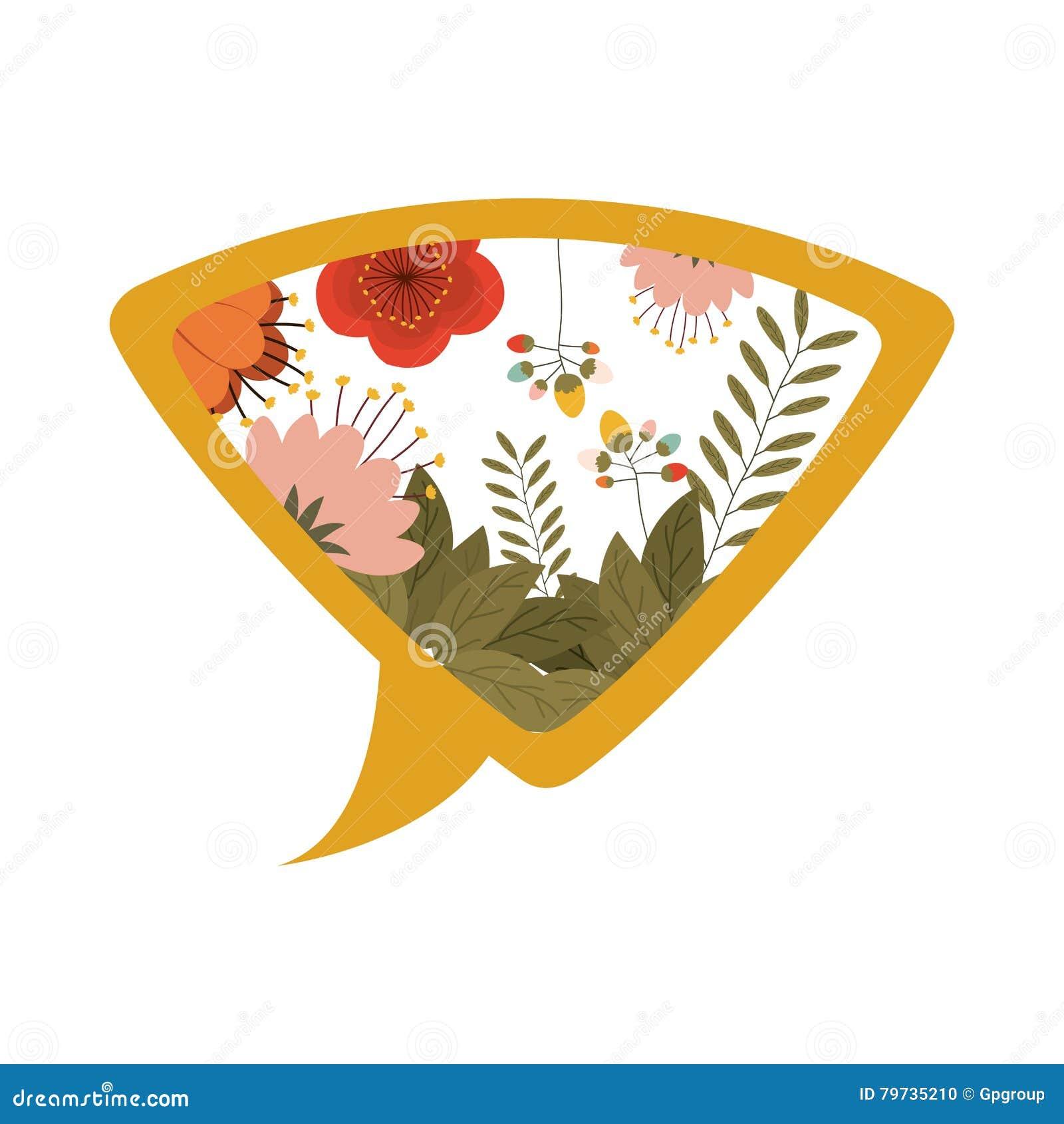 Diálogo amarillo de la silueta con las flores
