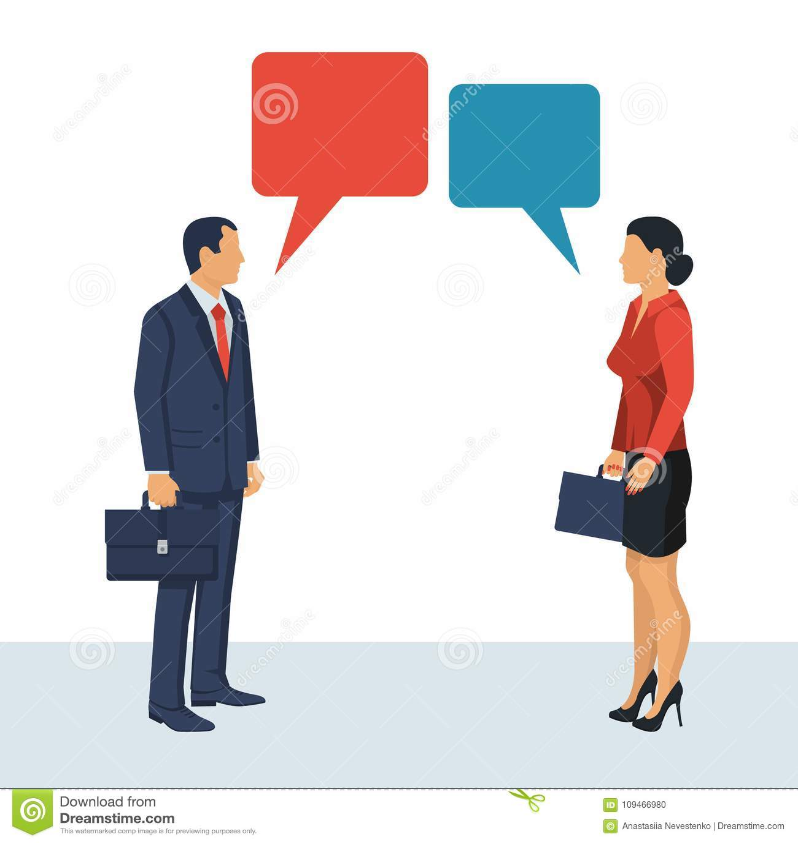 Diálogo De Los Hombres De Negocios De La Mujer Del Hombre Ilustración Del Vector Ilustración De Persona Pares 109466980