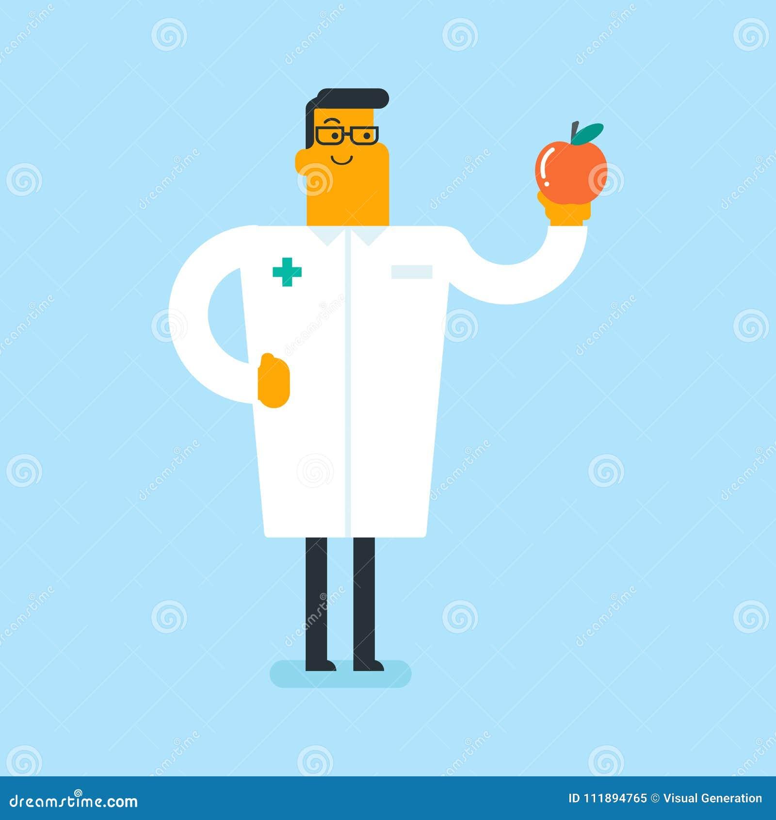 Diététicien blanc caucasien offrant la pomme saine