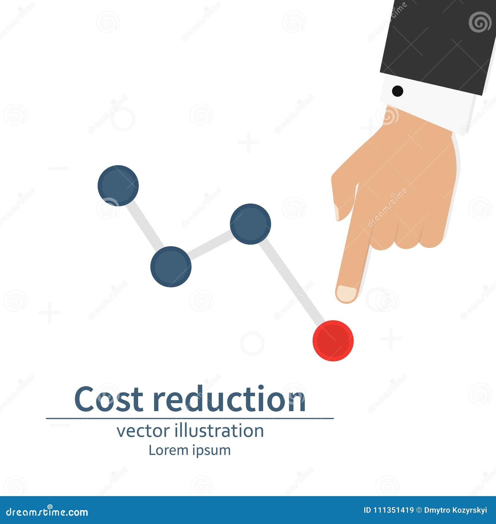 Di costo concetto di riduzione giù Costo giù L uomo d affari con la sua mano abbassa la freccia del grafico Illustrazione di vett