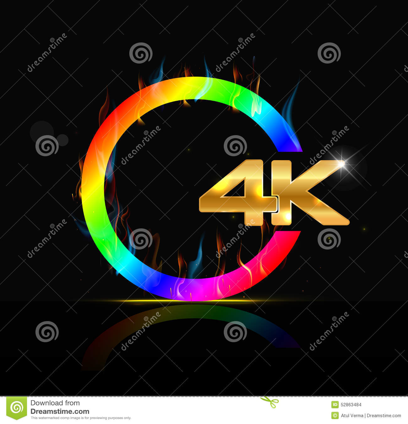 Di 4K segno ultra HD su fondo nero
