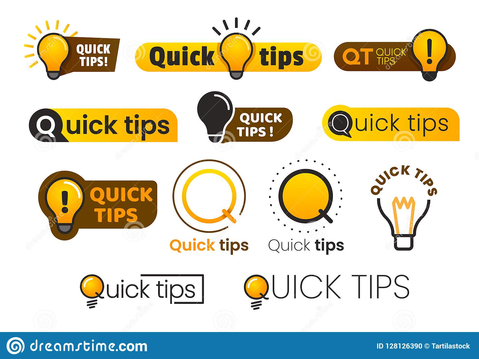 Di logo punte rapidamente Icona gialla della lampadina con il testo di punta dei quicks Lampada dell insieme dell insegna di vett