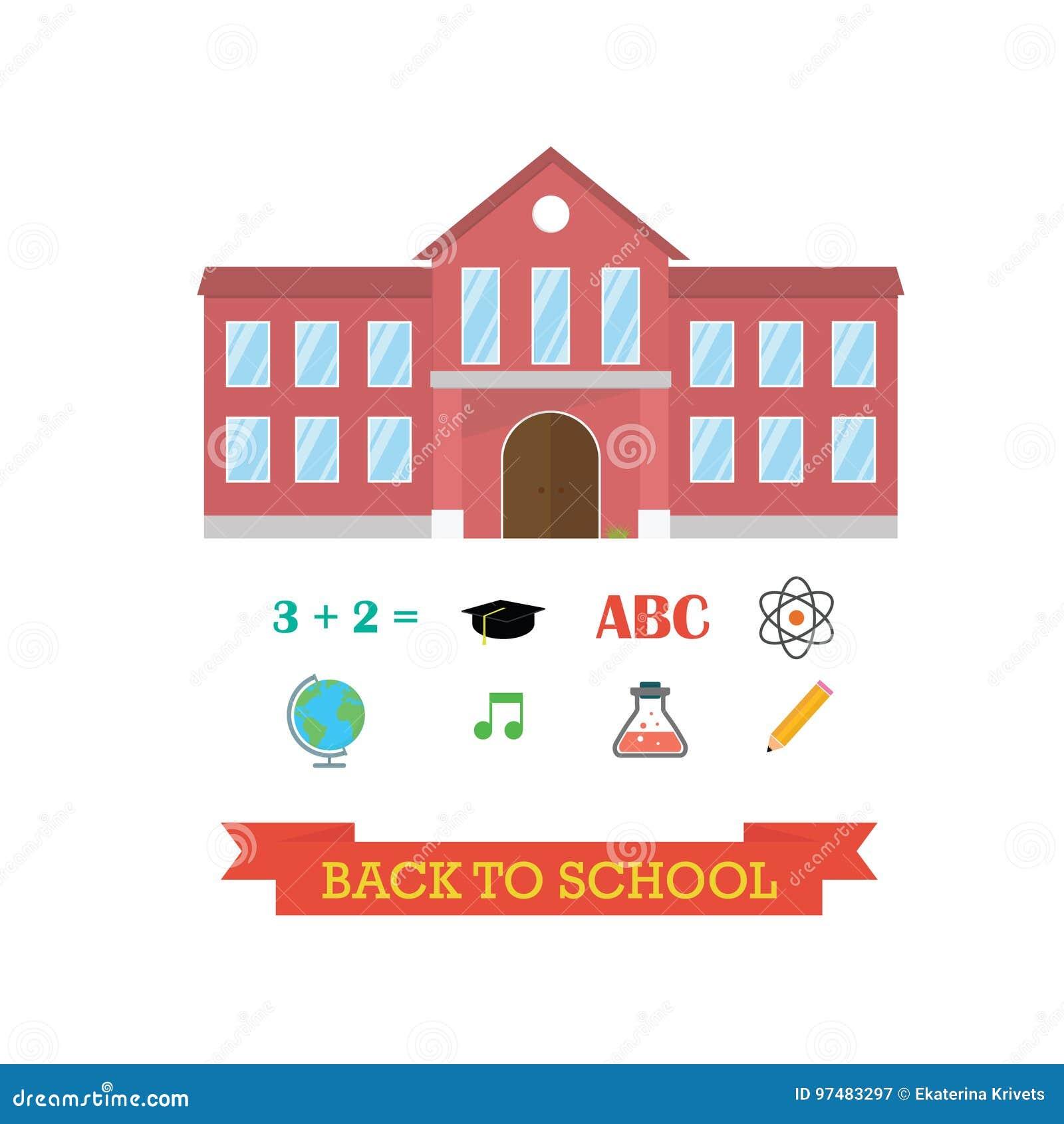 Di nuovo al concetto del banco Edificio scolastico con l insieme dell icona Musica dell atomo della matita di graduazione del cap