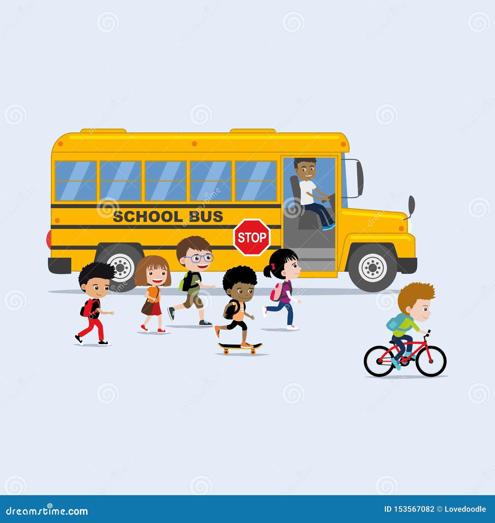 Di nuovo all illustrazione della scuola nello stile piano: diverso gruppo di bambini che si imbarcano su scuolabus