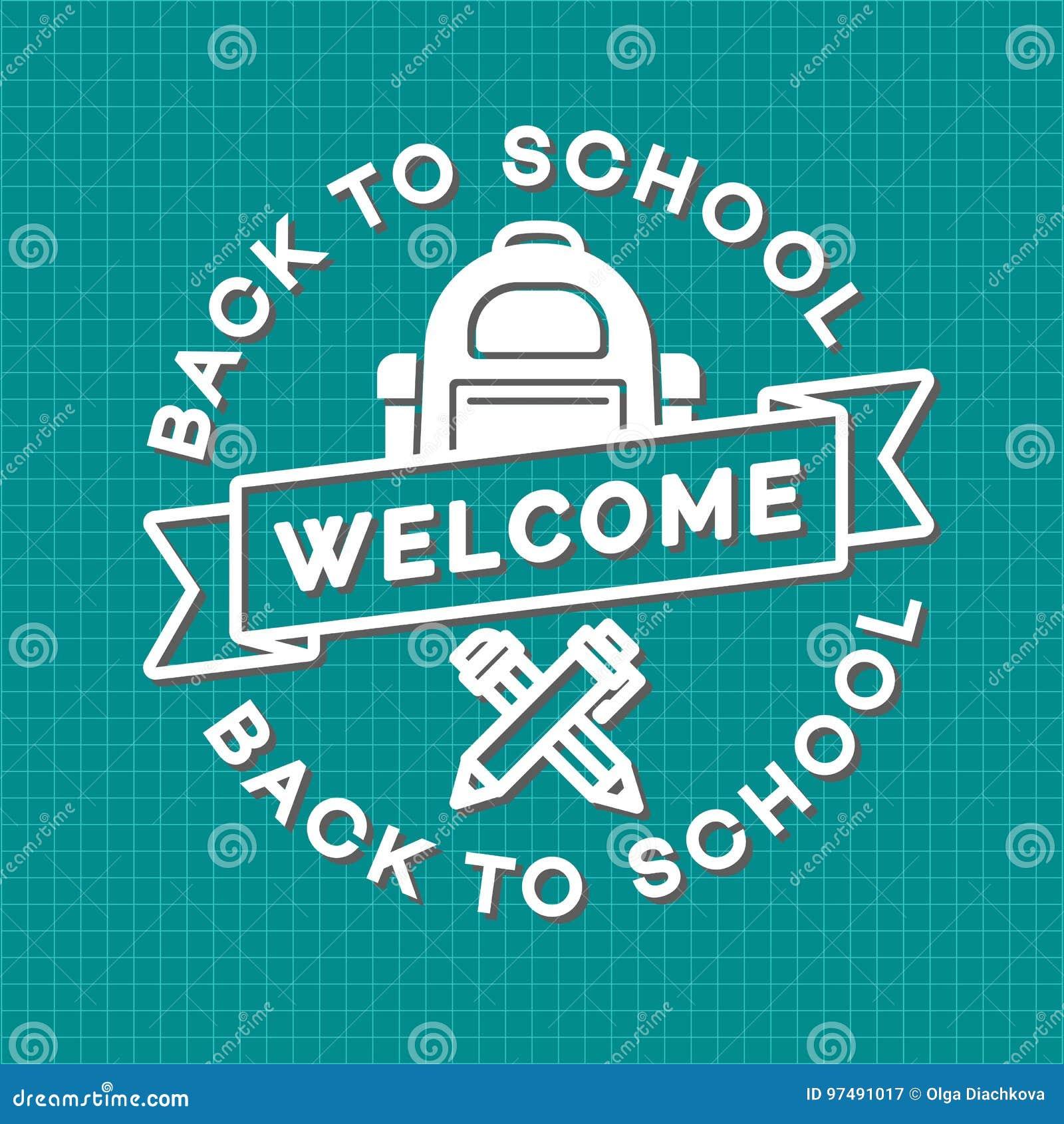 Di nuovo a colore bianco dell emblema della scuola che consiste dello zaino della scuola,