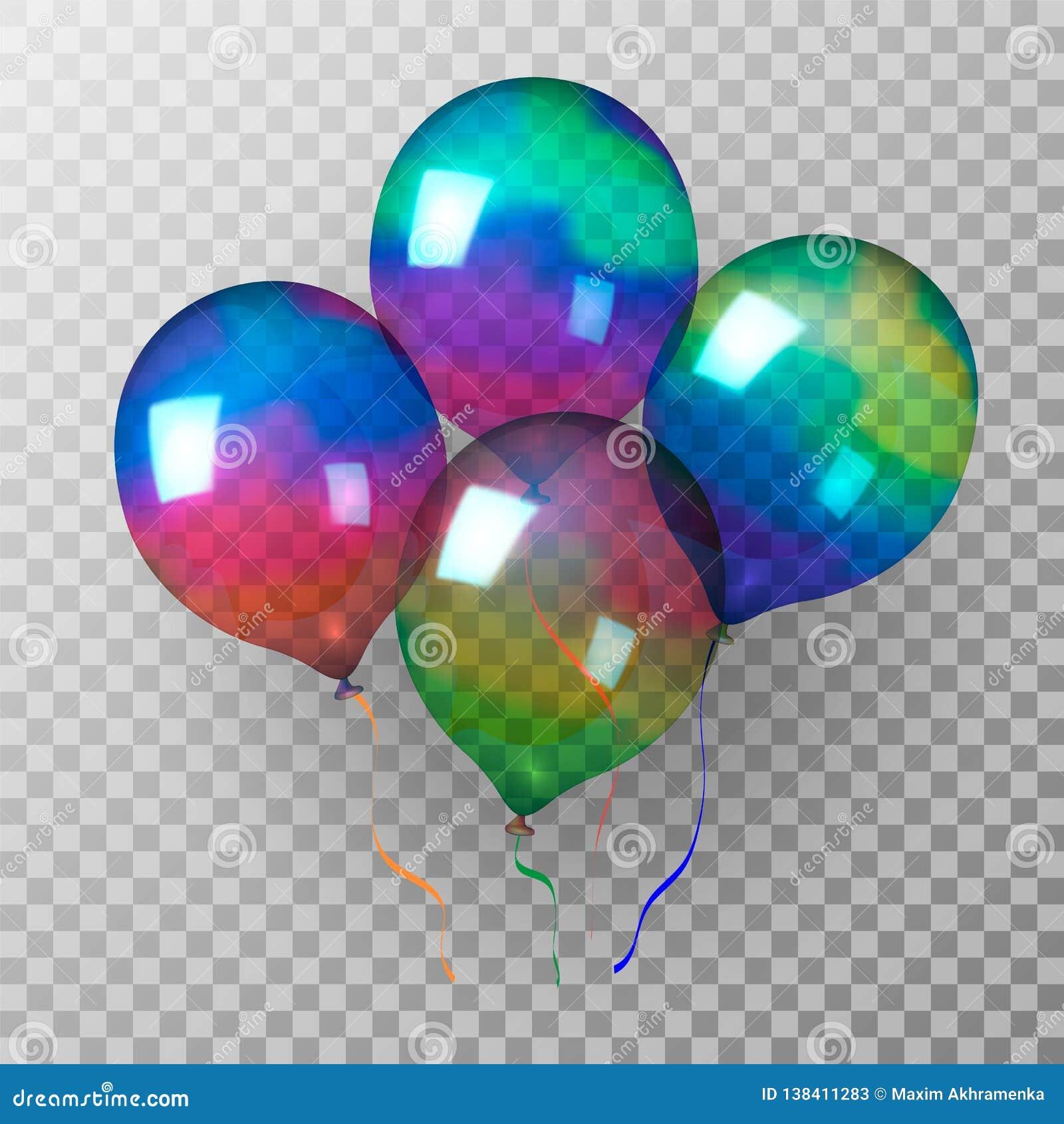 Di palle gonfiabili trasparenti luccicanti colorate Multi Illustrazione di vettore
