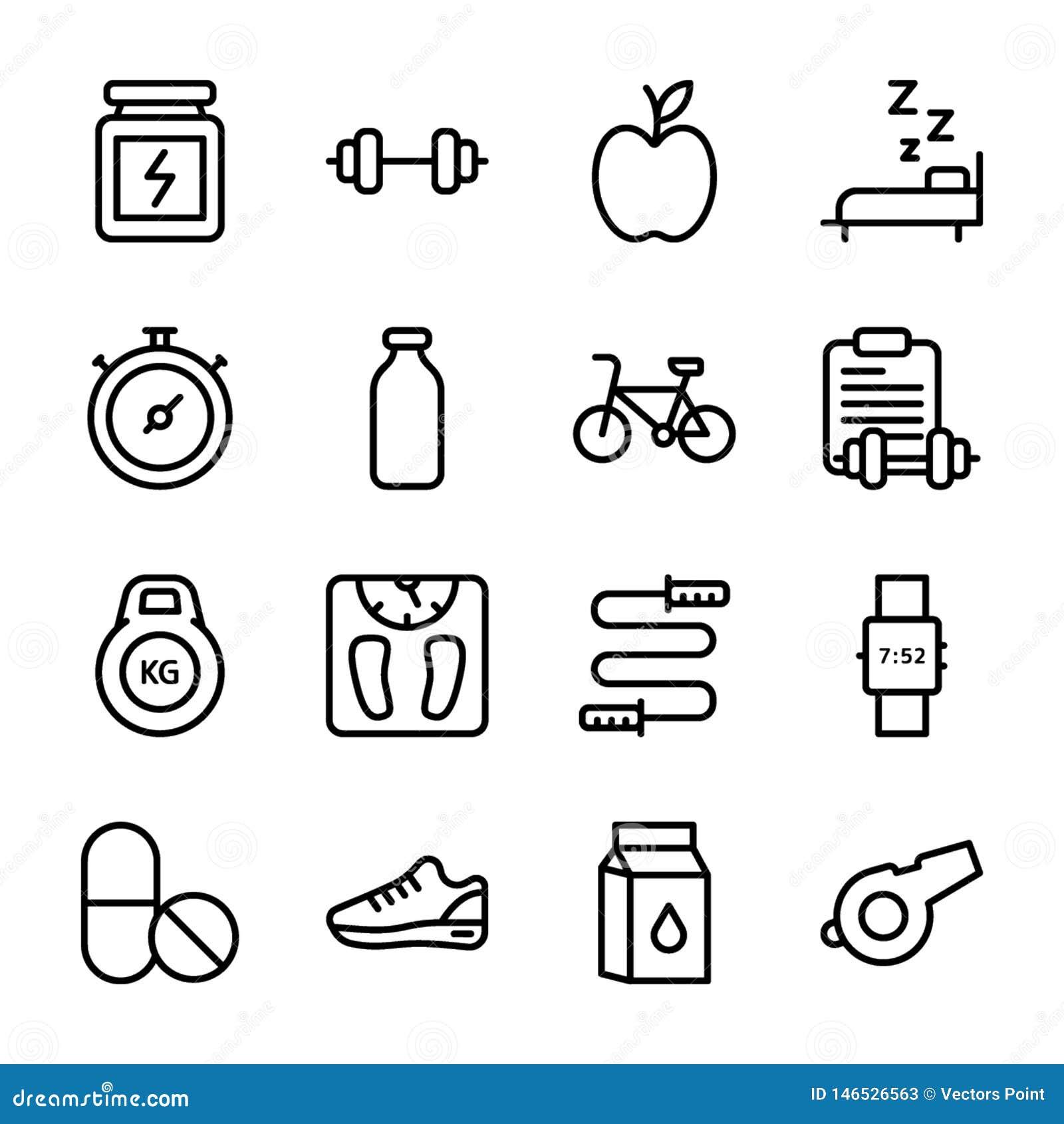 Di?t-Plan, Sport erg?nzen, Nahrungs-Ikonen verpacken