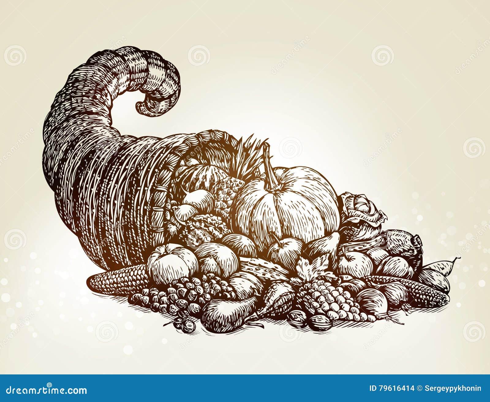 Dia da acção de graças Ilustração do vetor do esboço da cornucópia do vintage