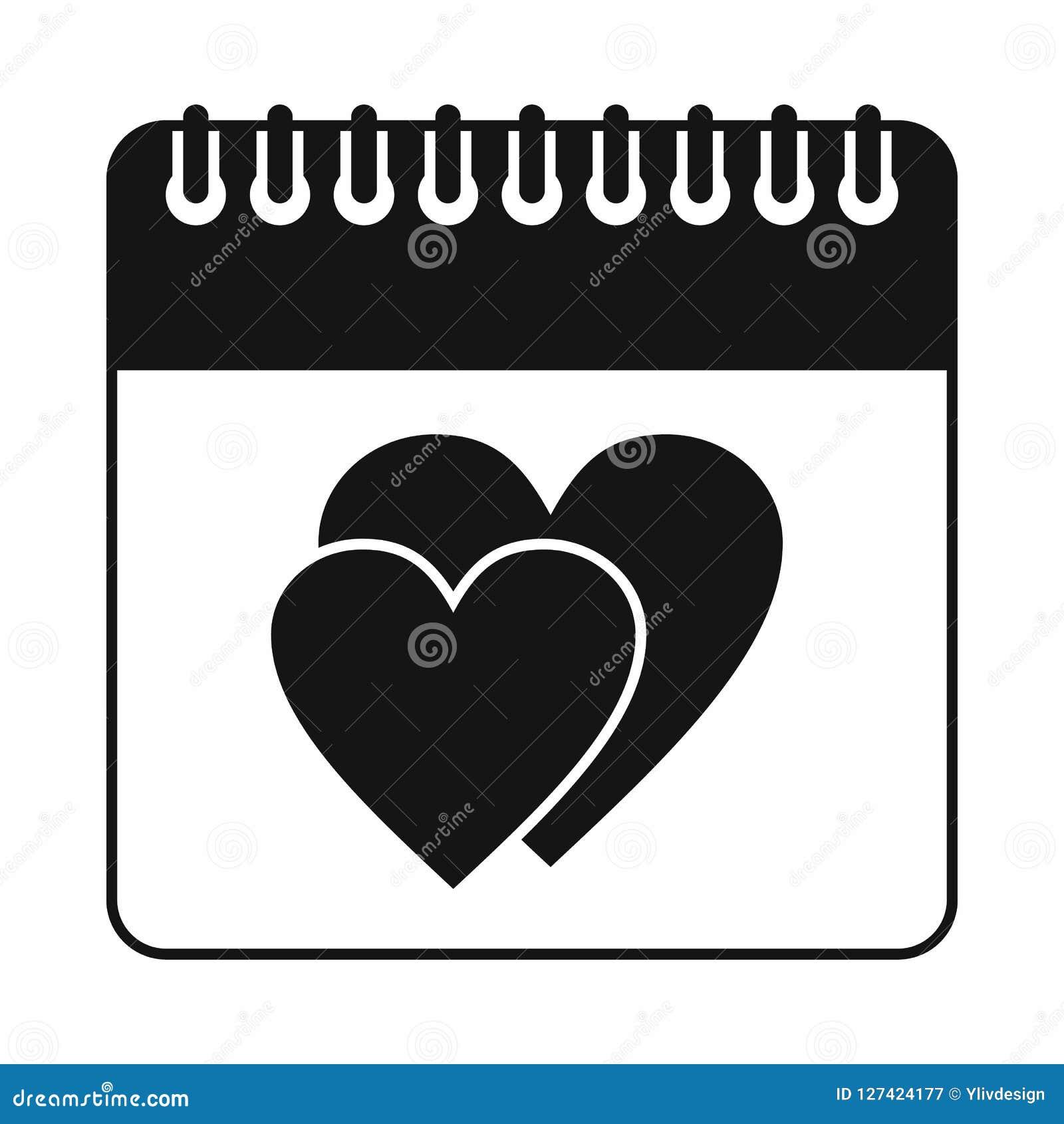 Dia da data do casamento no ícone do calendário, estilo simples