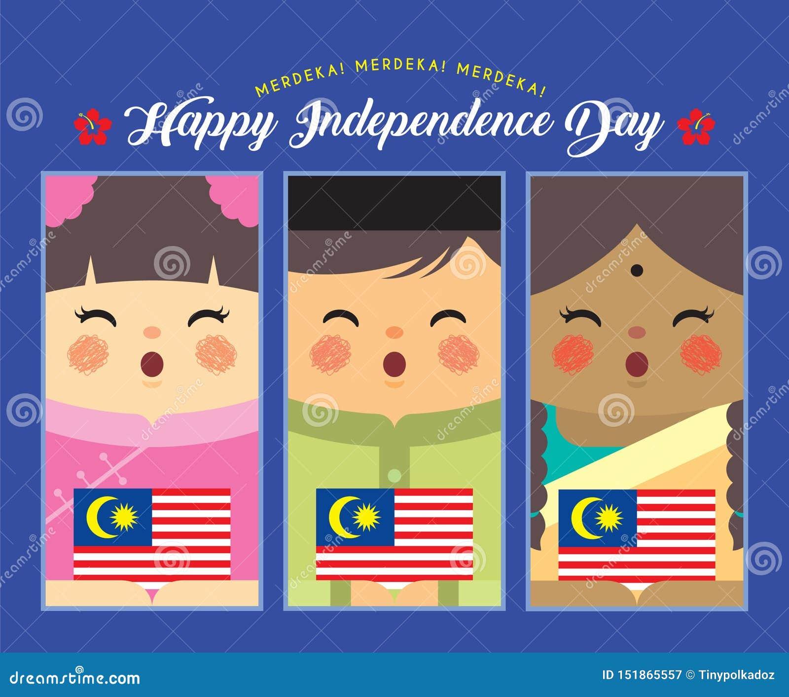 Dia da Independência de Malásia - bandeira malaio, indiana & chinesa dos desenhos animados da terra arrendada de Malásia