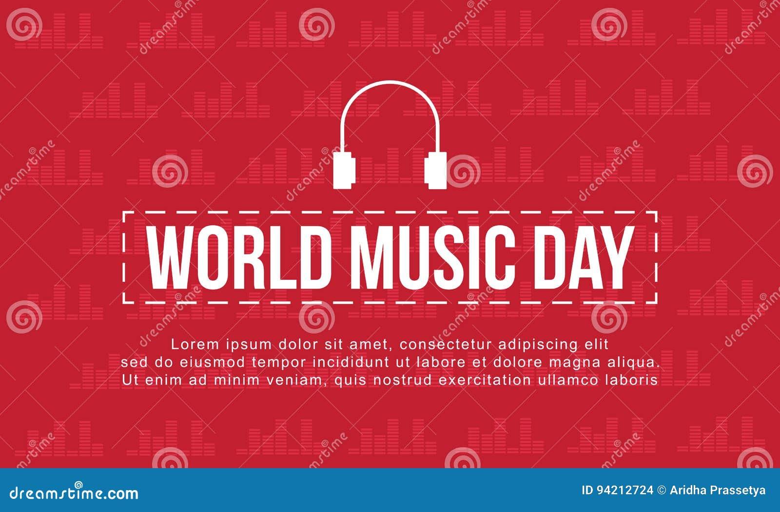 Dia da música do mundo com estilo vermelho do fundo
