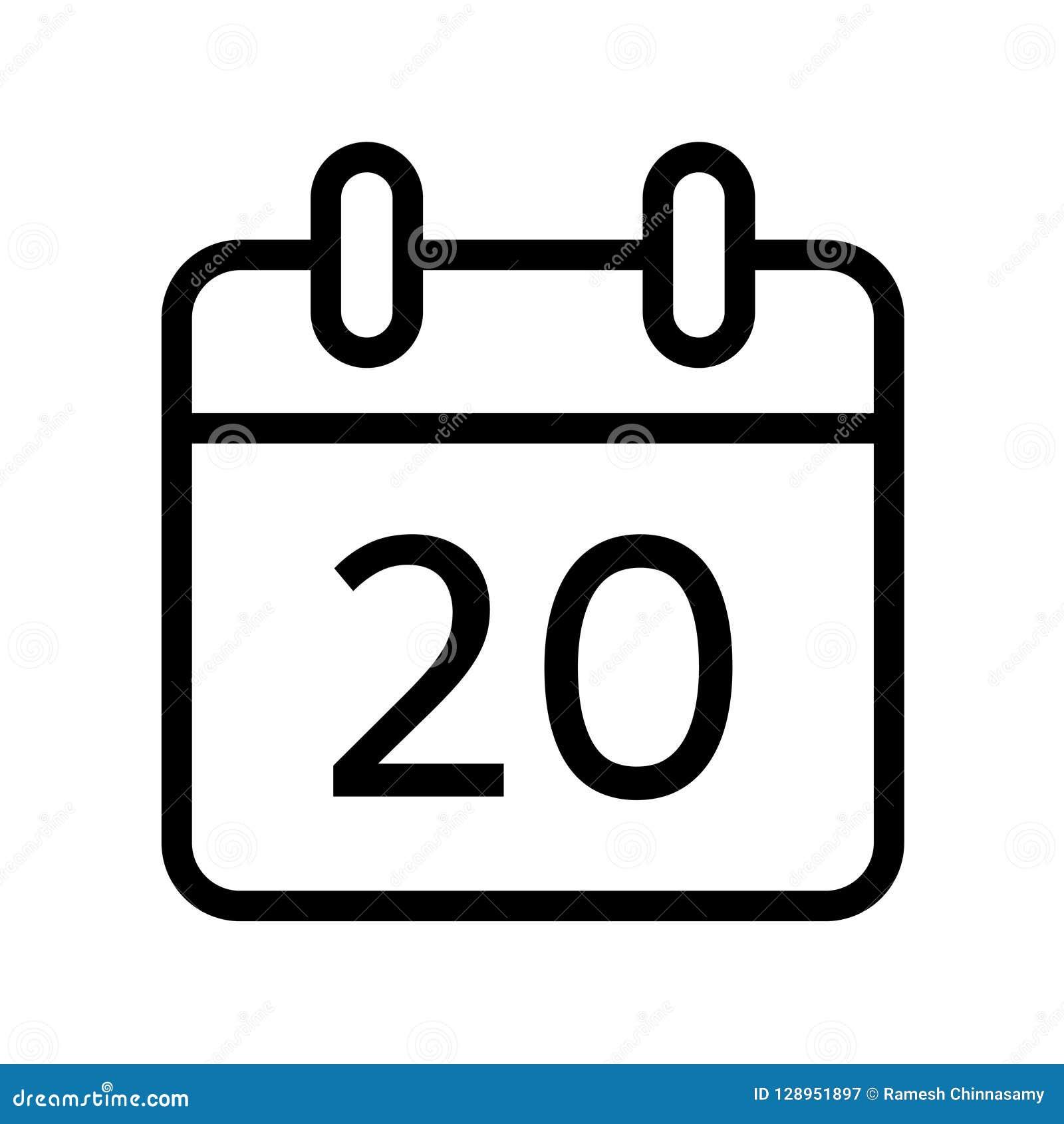 Dia de calendário ícone de vinte datas