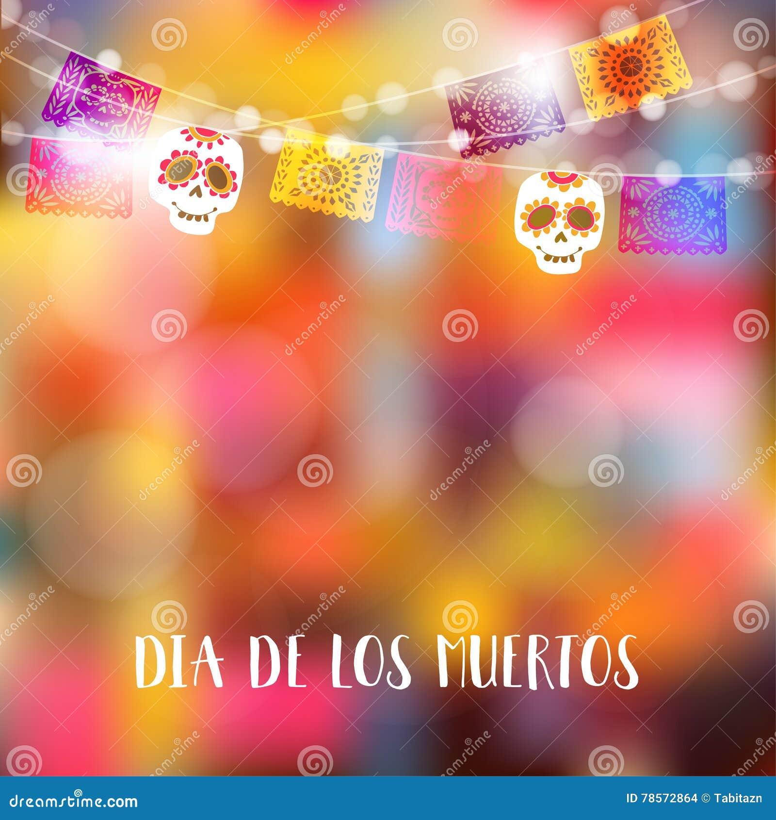 Dia de Los Muertos,死者或万圣夜卡片,邀请的天 集会装饰,光,与头骨的党旗子串