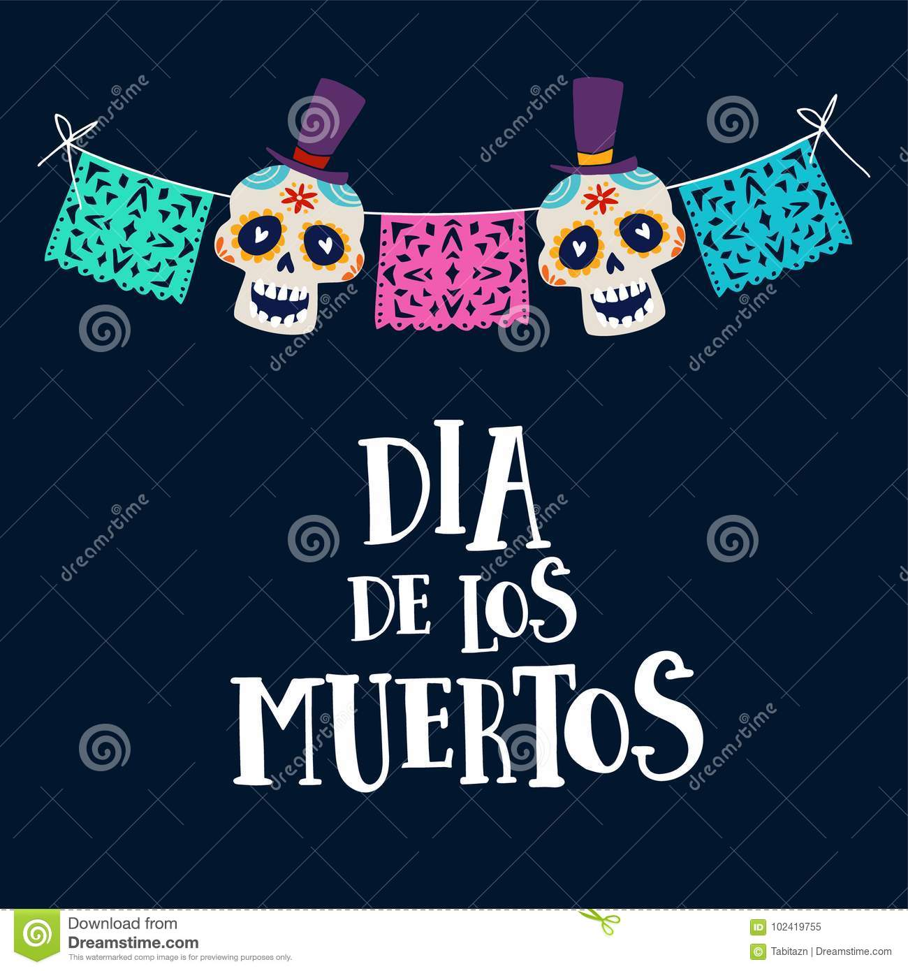 Dia de los Muertos greeting card, invitation. Mexican Day of the Dead. String decoration with party flags and ornametal