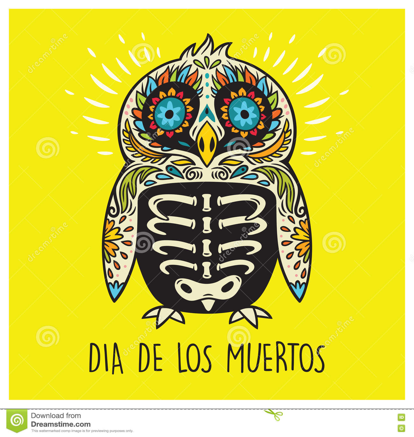 Dia de los muertos greeting card with sugar skull penguin stock download dia de los muertos greeting card with sugar skull penguin stock vector illustration m4hsunfo