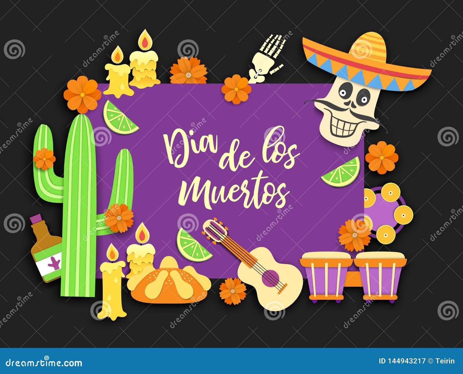 Dia de Los Muertos Jour des morts Festin mexicain du souvenir des morts Fond latin national de carnaval Vecteur