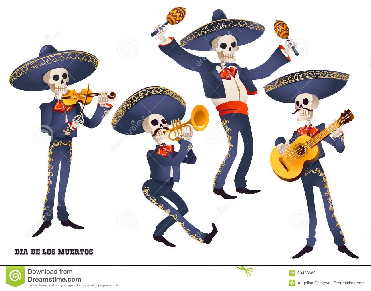 Download Dia De Muertos. Mariachi Band Musician Of Skeletons. Mexican Tradition. Stock Vector - Illustration of america, guitar: 99433688