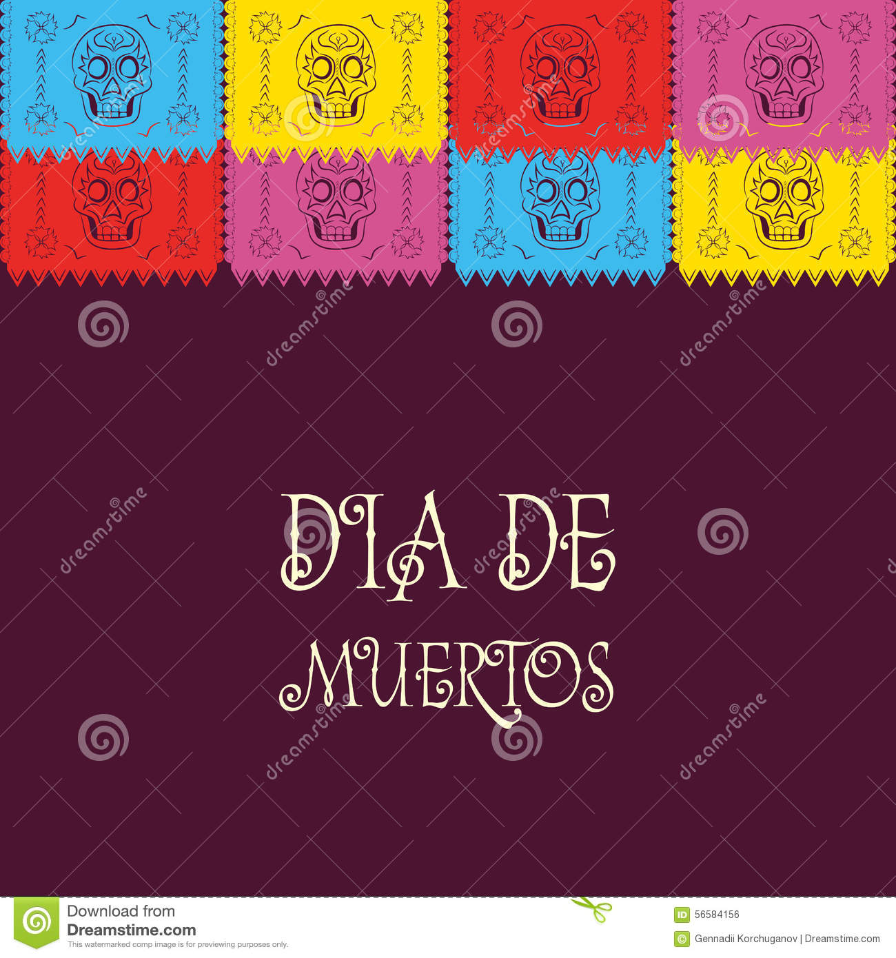 Dia de muertos mexican day of the death spanish text for A text decoration