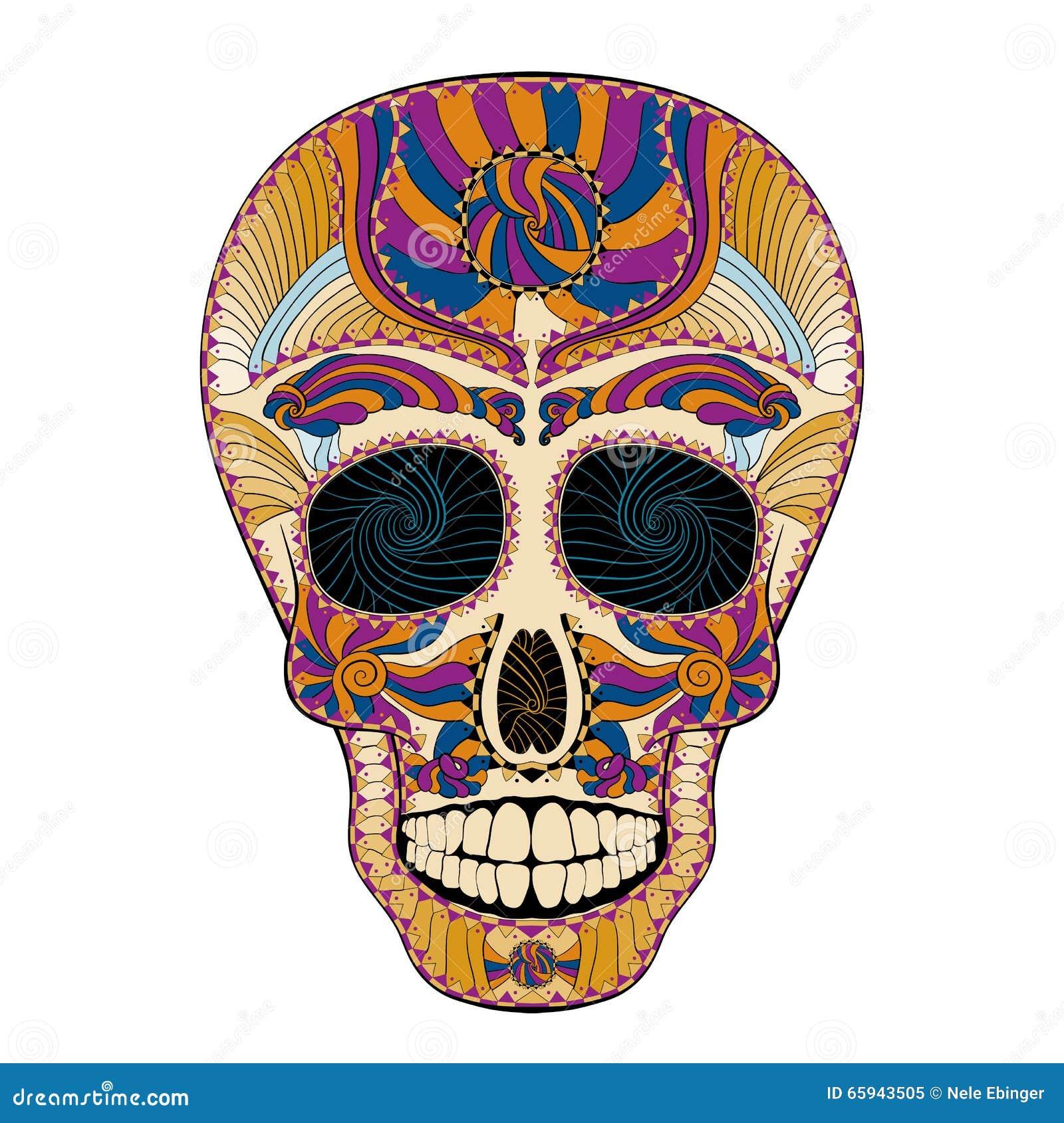dia de muertos tattoo skull day vom toten bunten stock abbildung bild 65943505. Black Bedroom Furniture Sets. Home Design Ideas