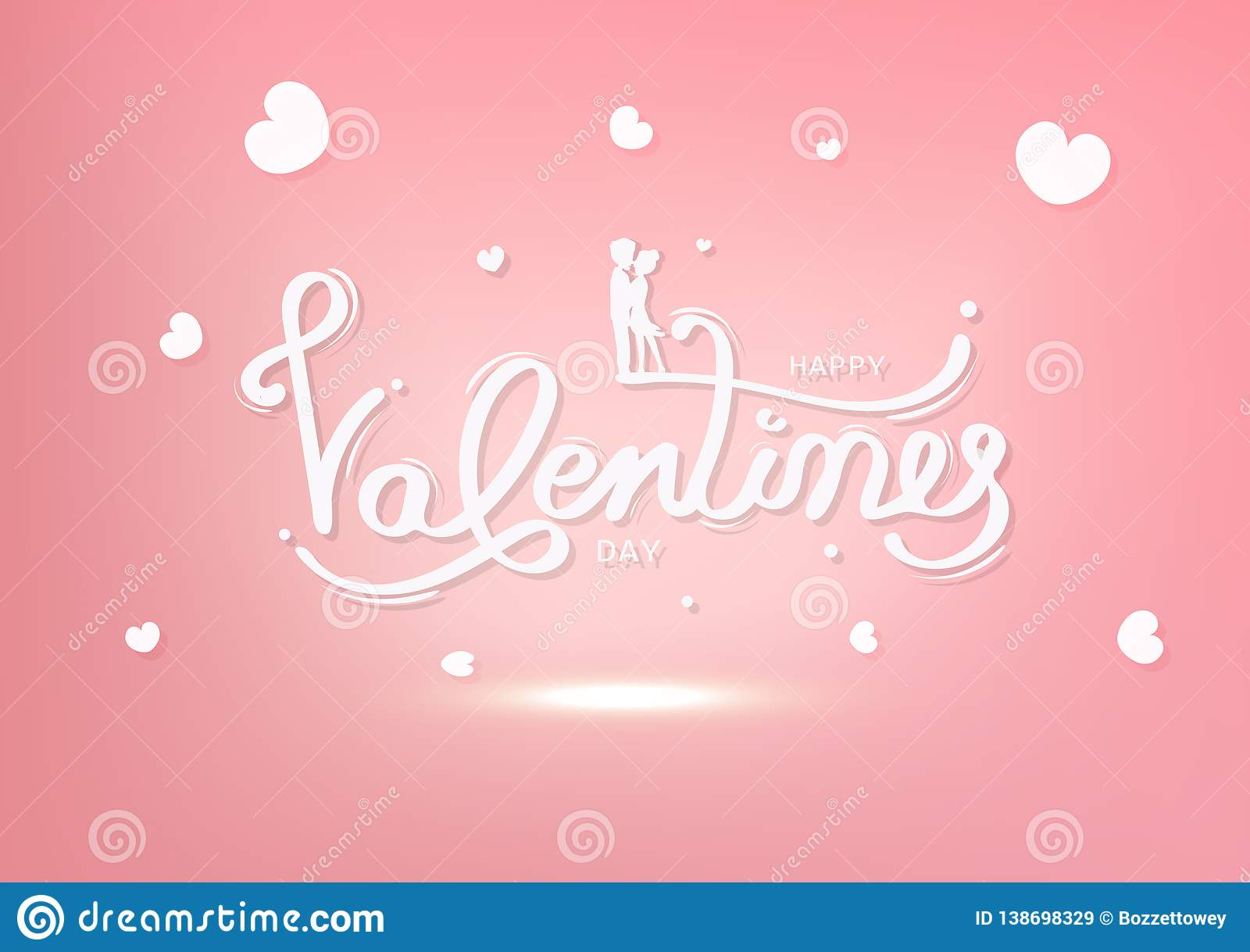 Dia de Valentim, felicidade do amante, cartão, feriado pastel dos povos da silhueta da decoração da caligrafia, o branco e o cor-