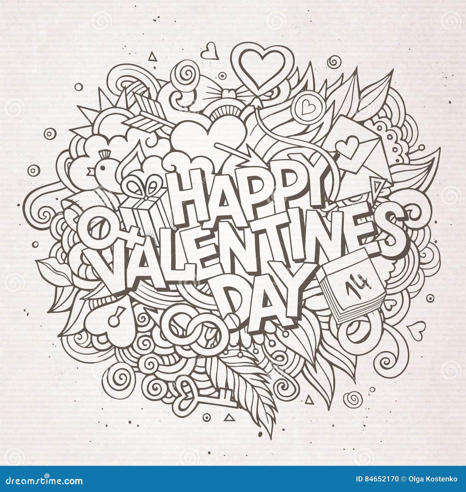 Dia de Valentim feliz tirado mão da garatuja dos desenhos animados