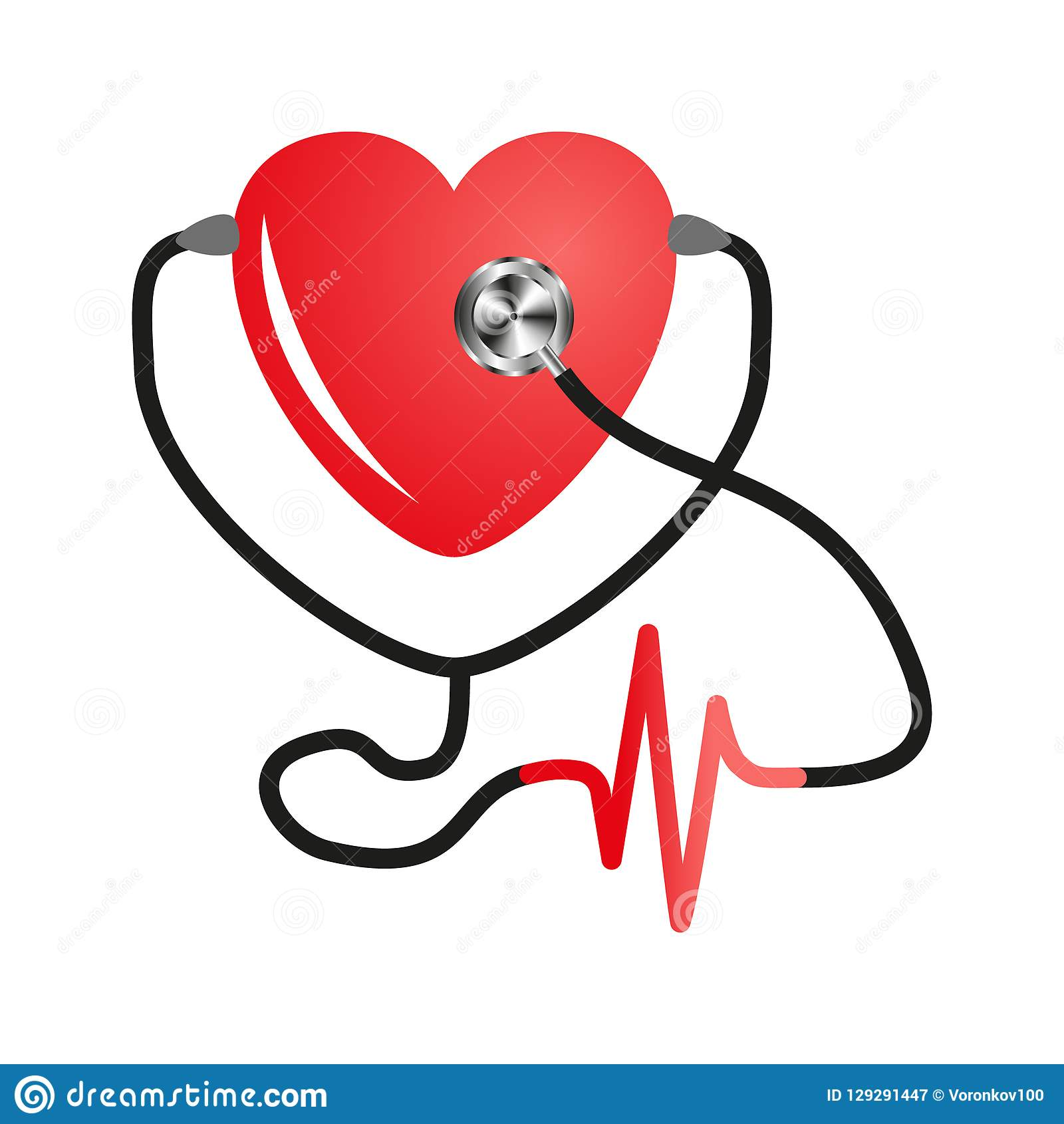 Dia do coração do mundo Estetoscópio do coração Vetor liso no fundo branco isolado Projeto do serviço médico, cardiograma
