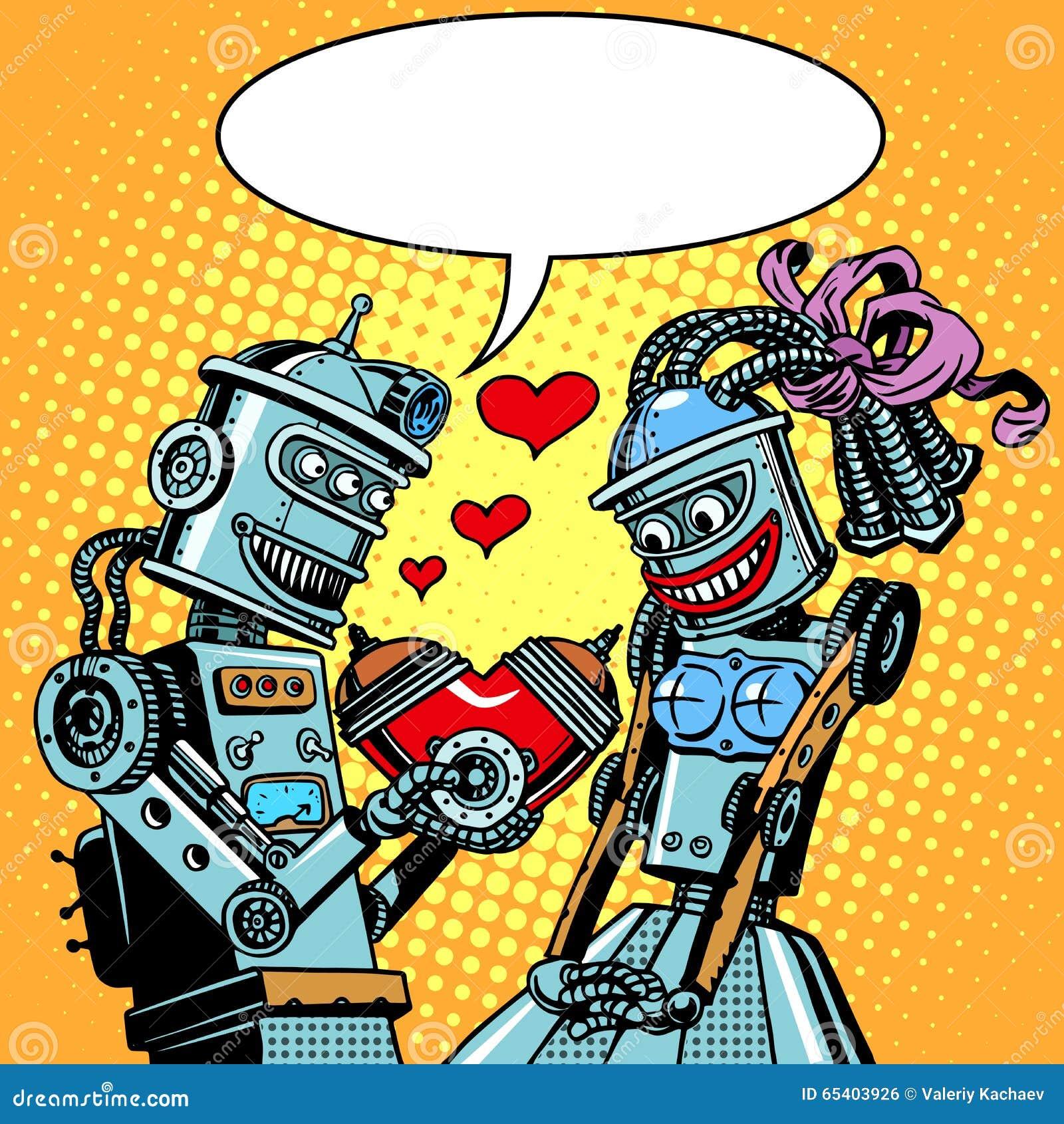 Dia e casamento de Valentim do amor da mulher do homem dos robôs